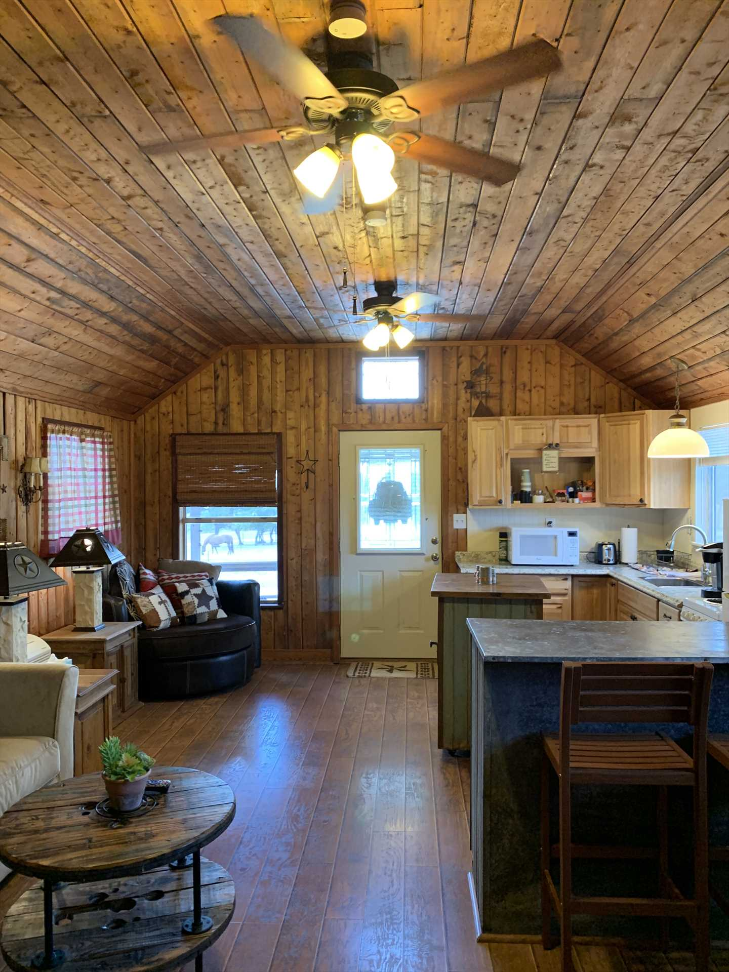 Cable and satellite TV, a DVD player, and shared Wifi on the ranch highlight your tech amenities here.