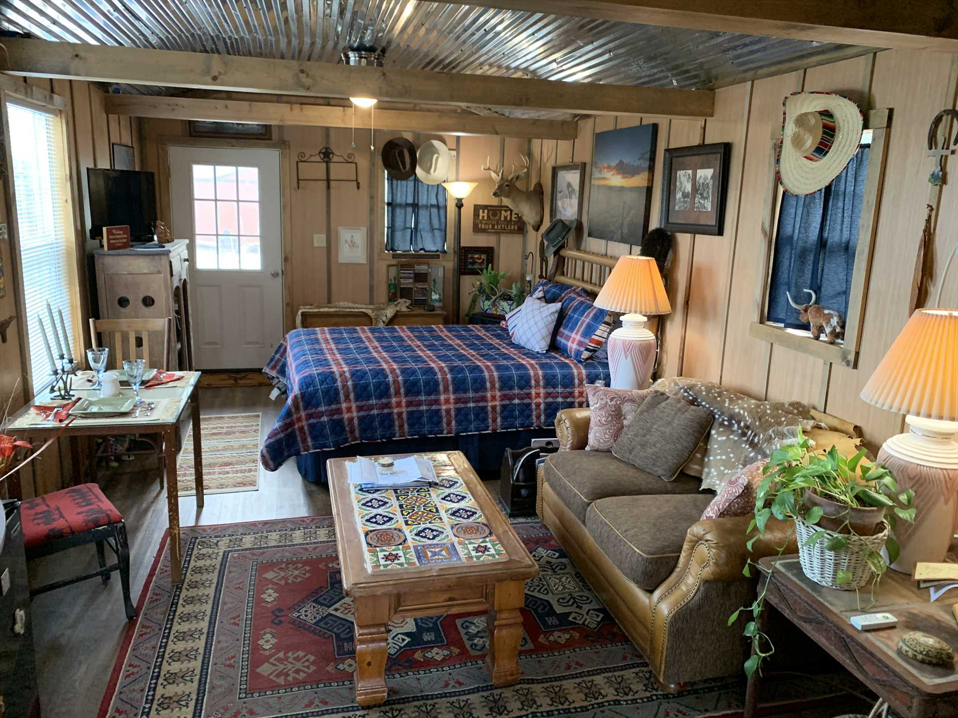 Cozy, eclectic, and flooded with natural light, the cabin sets the stage for an incredible romantic getaway!