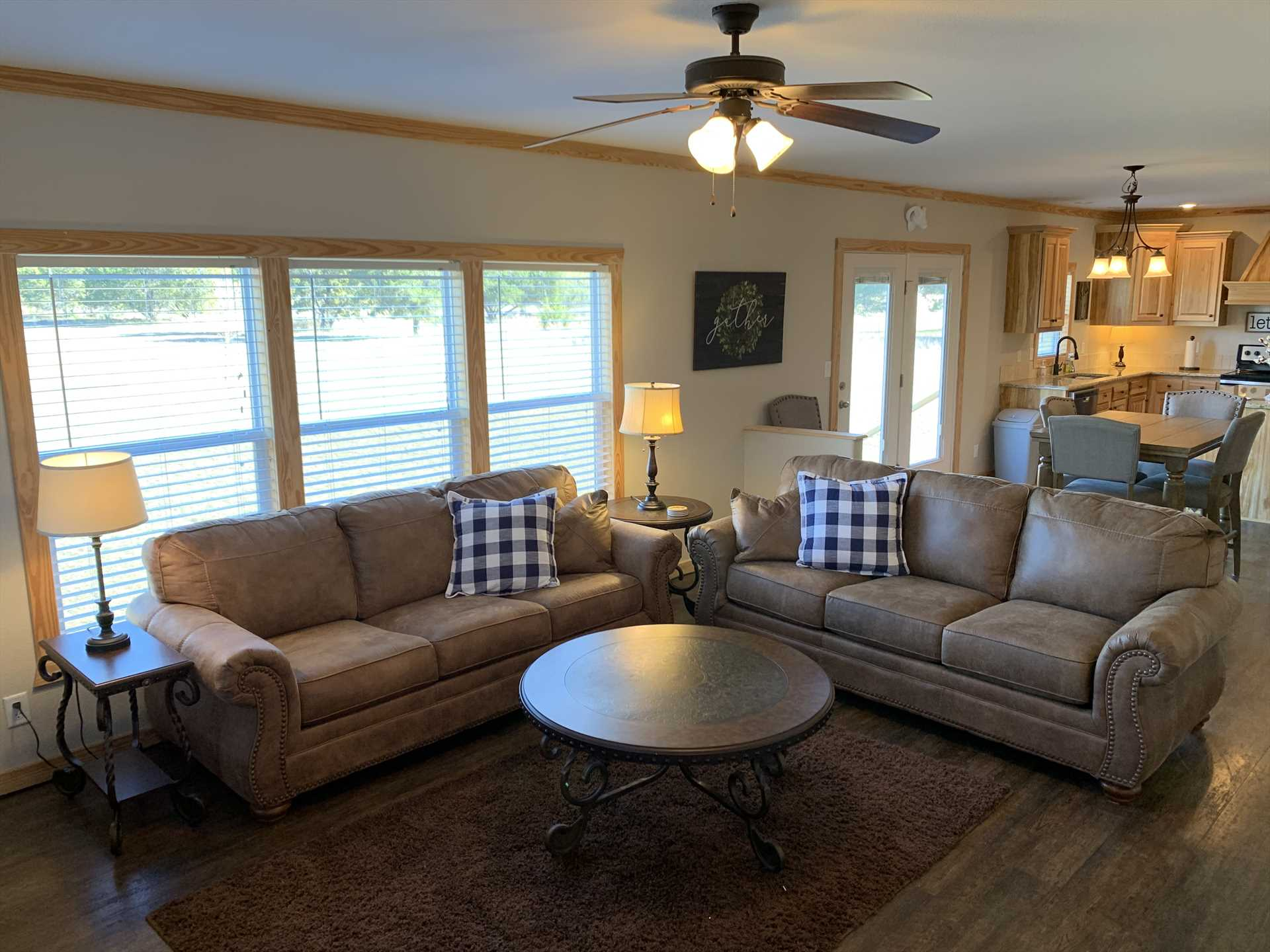 One of the couches in the big living area doubles as a bed, so all told the Hideaway has excellent sleeping space for up to 13 of your family and friends.
