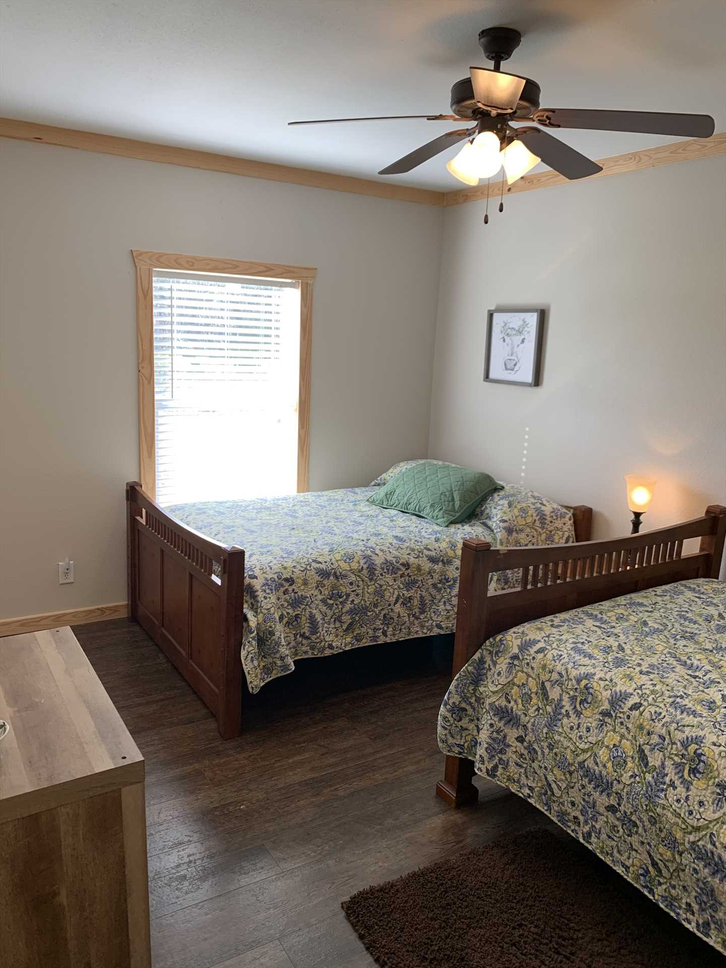 Two big double beds in the second bedroom offer sweet slumber for up to four guests. Fluffy bed linens are provided for all our visitors!