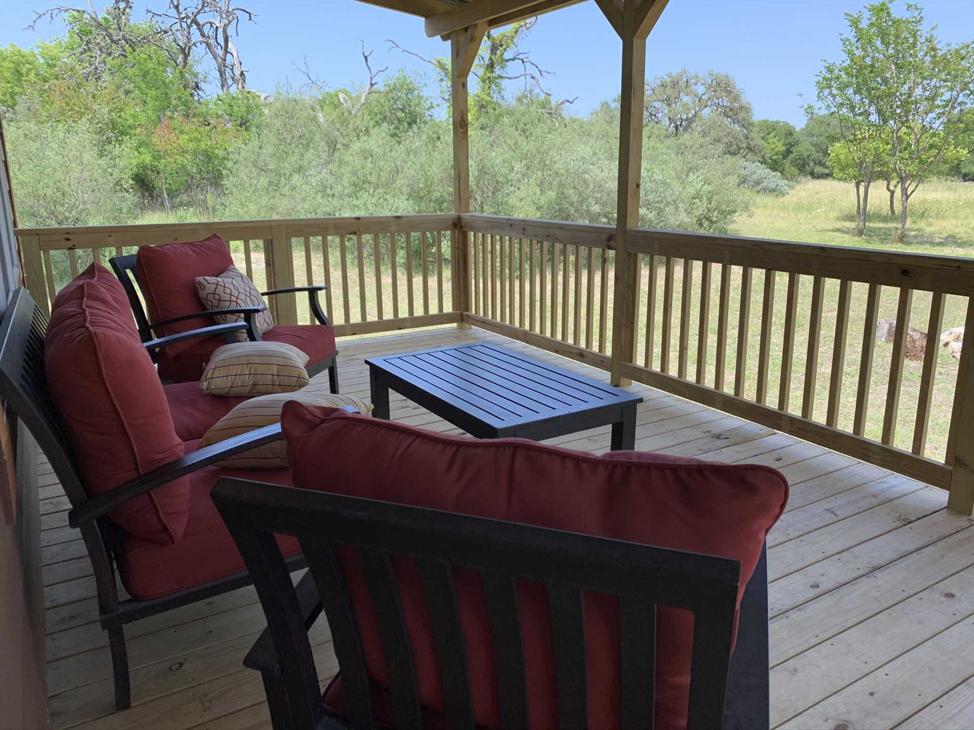 Even with room to accommodate 13 guests, the Hideaway provides private and peaceful spots for relaxation, too-all with the beautiful Hill Country in the background.