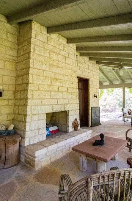 Gather round a crackling fire in the outdoor fireplace-and firewood's provided, too!