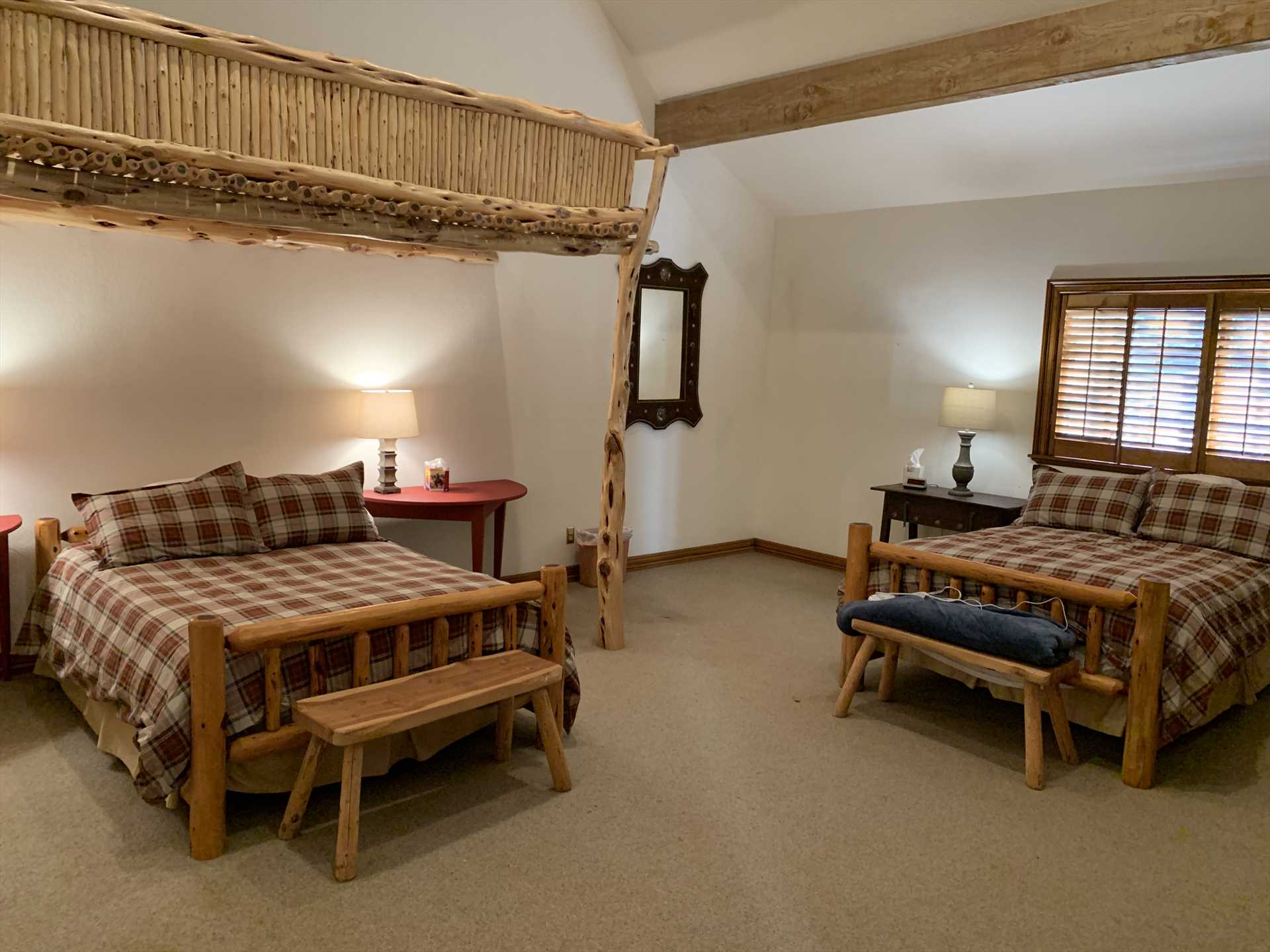 Two queen beds are also available in the third bedroom. Fluffy and warm bed and bath linens are provided all throughout the Homestead.