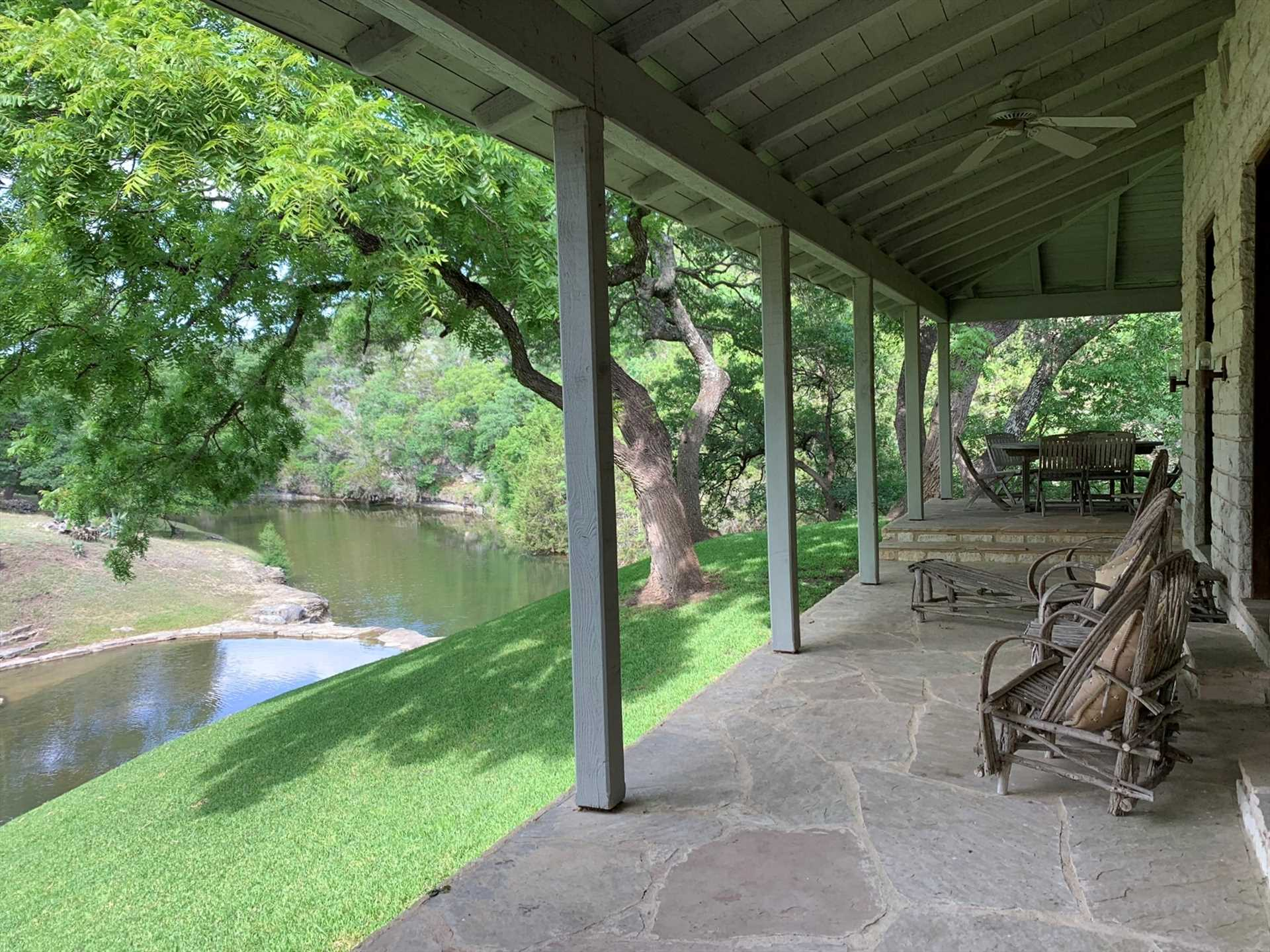 Fall Creek flows right behind the Homestead. Wade in for a cooling dip, or enjoy the view from the shaded porch!