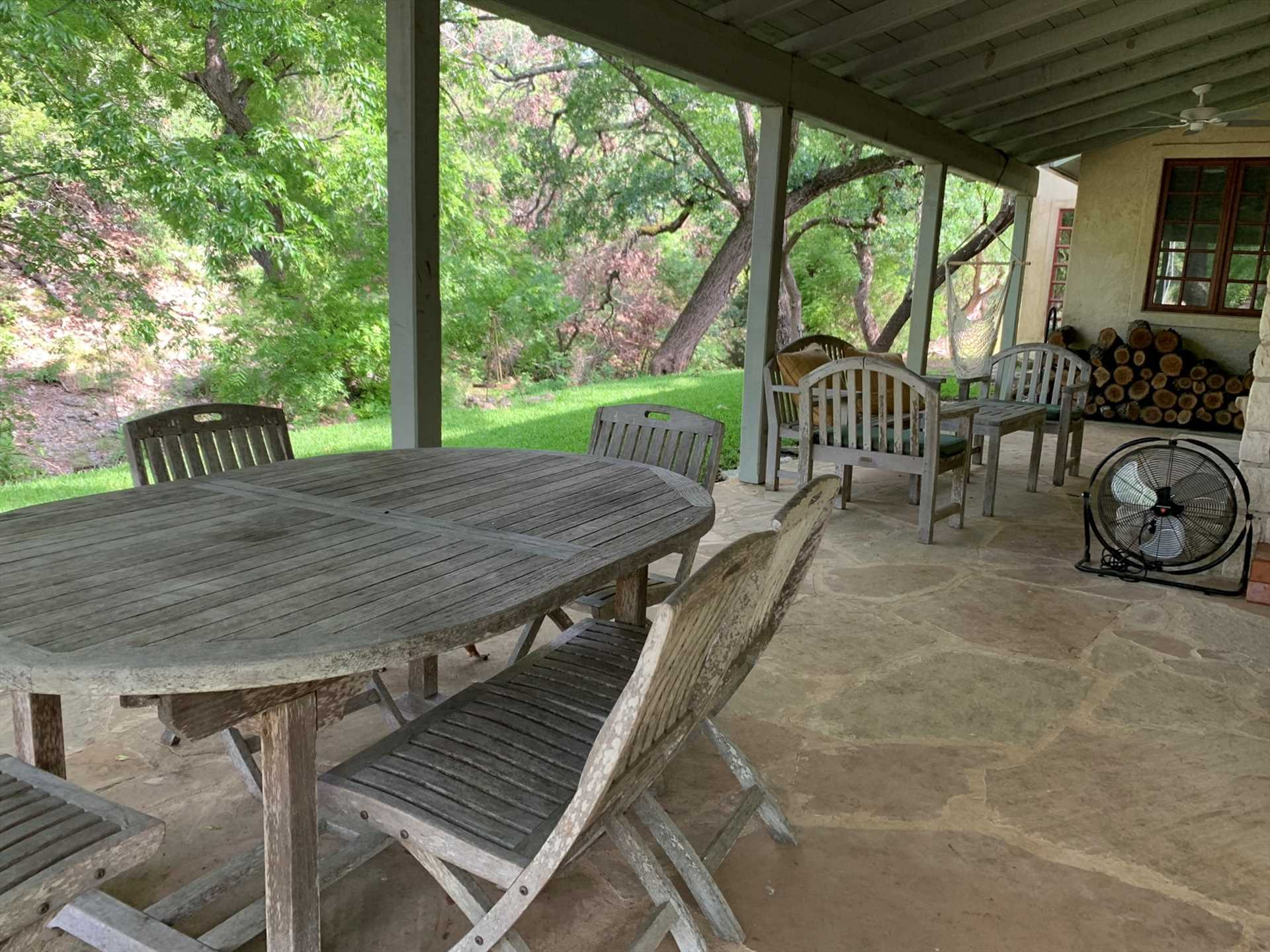 A great big gas grill, outdoor fireplace, and outdoor furniture make the exterior of the Homestead just as fun and comfortable as the inside!