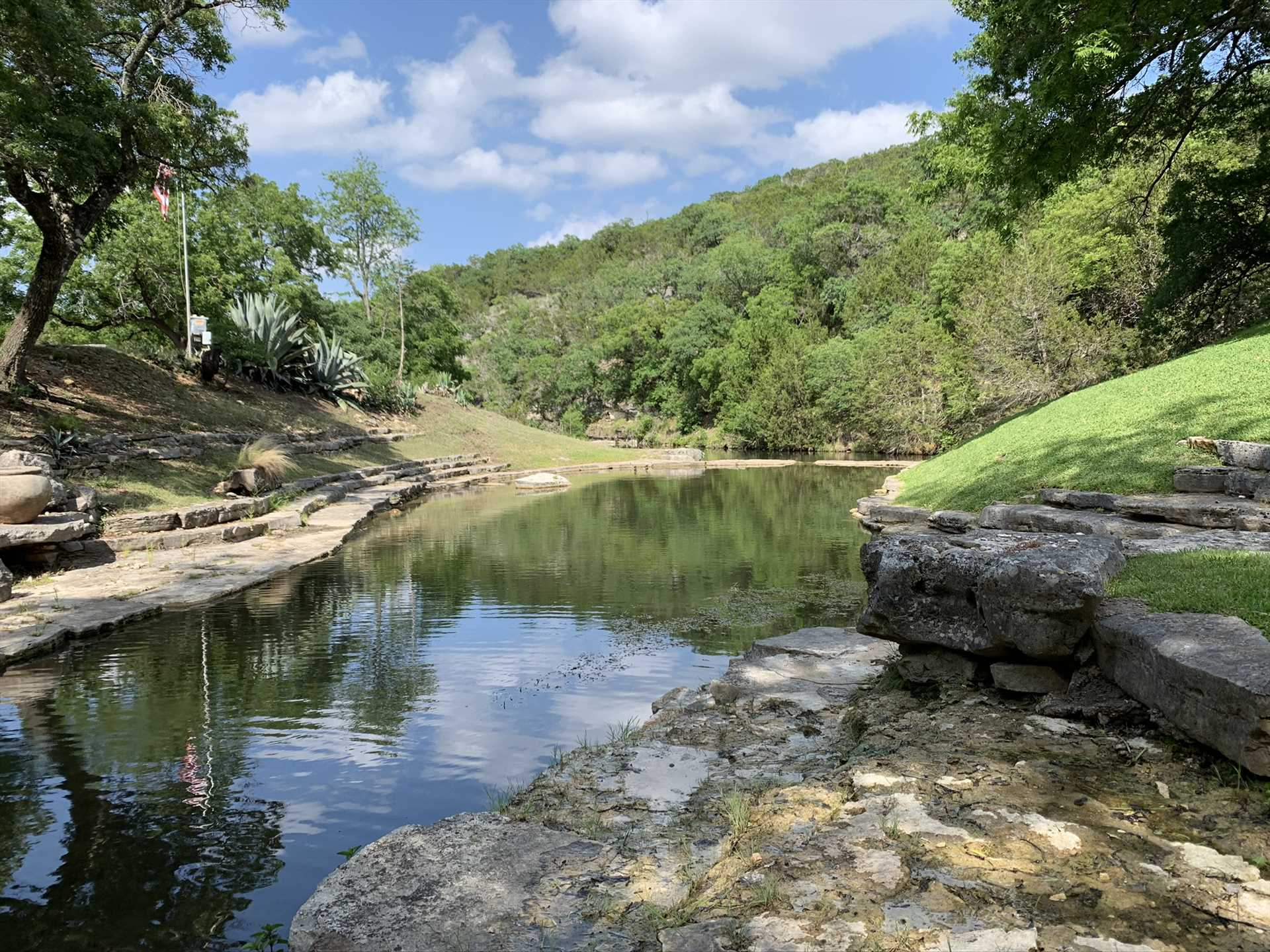 While the scenery is beautiful year round, water activities may be limited due to seasonal creek depth. Check with us before your stay for details.