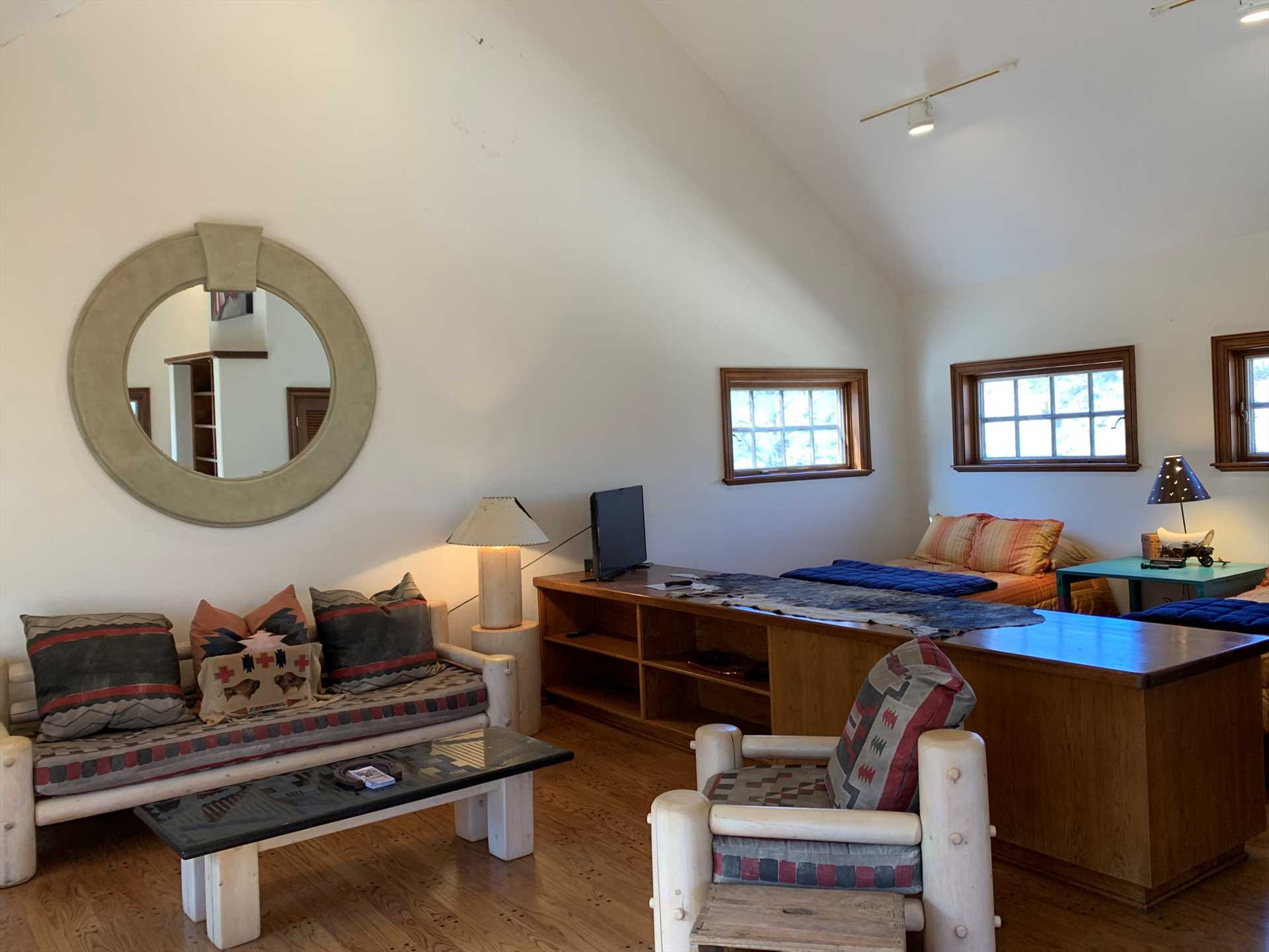 Two queen beds and a double-sized futon-all with soft and clean linens included-provide sleeping space for up to five more guests in the Casita.