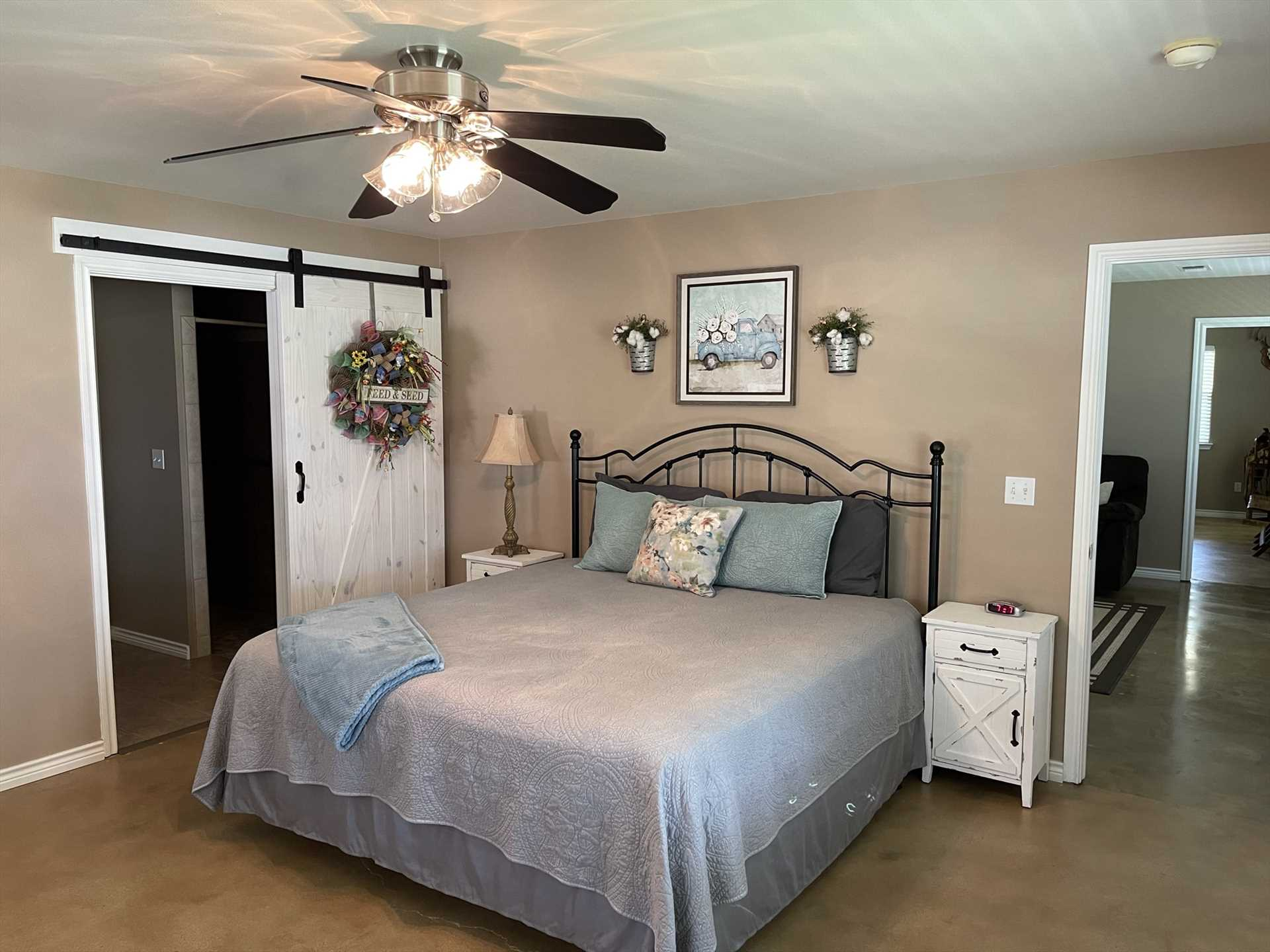 All in all, there are four roomy beds in Omie's Ranch Haus, offering sweet slumber for up to eight guests-all with downy-soft and clean linens!
