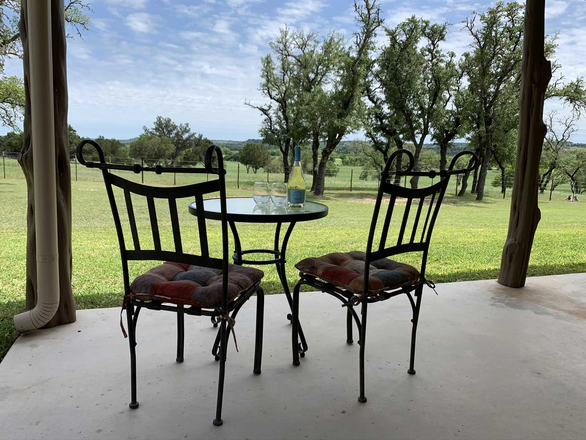 You're welcome to hike the grounds, of course-but you won't even need to leave the patio for beautiful Hill Country views!