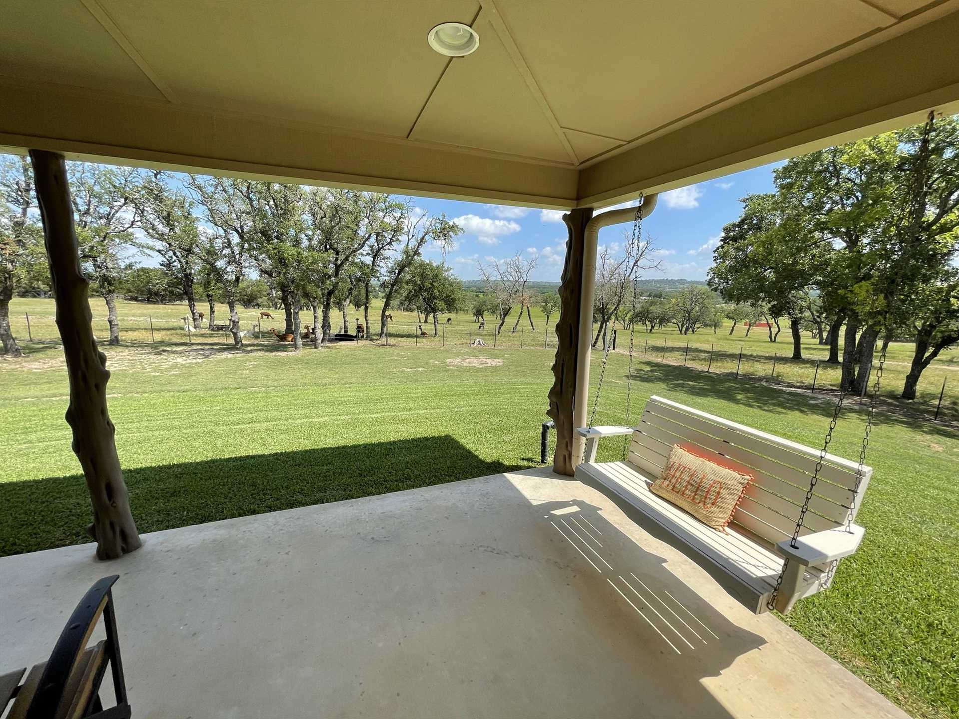 You can almost hear the gentle creak of the porch swing as refreshing Hill Country breezes waft over you.