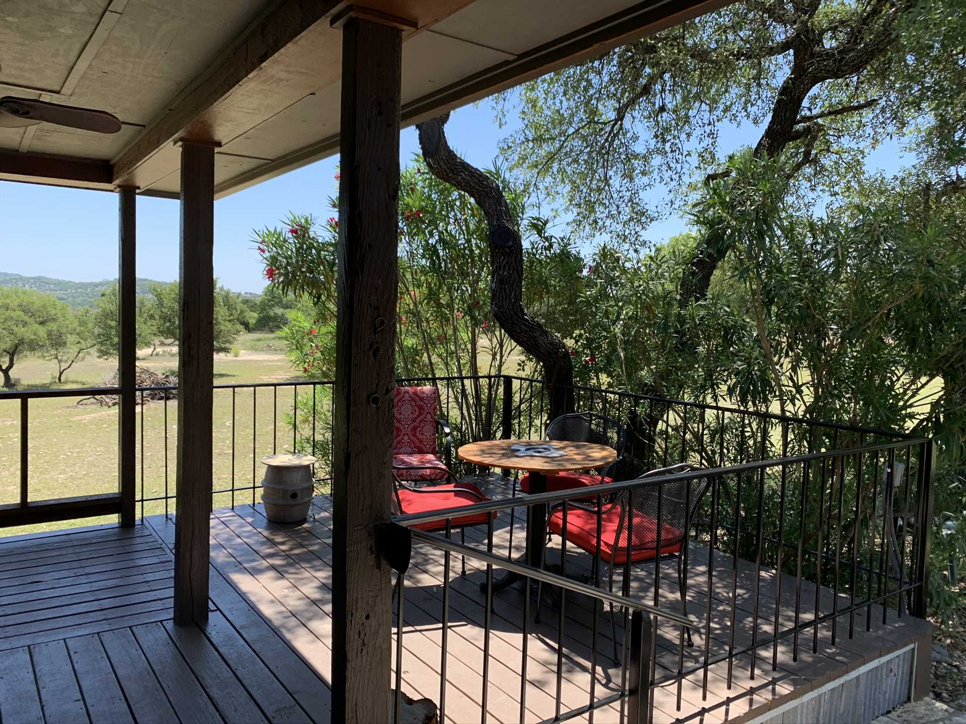 Wine and dine on the wonderful, tree-shaded outdoor dining patio!