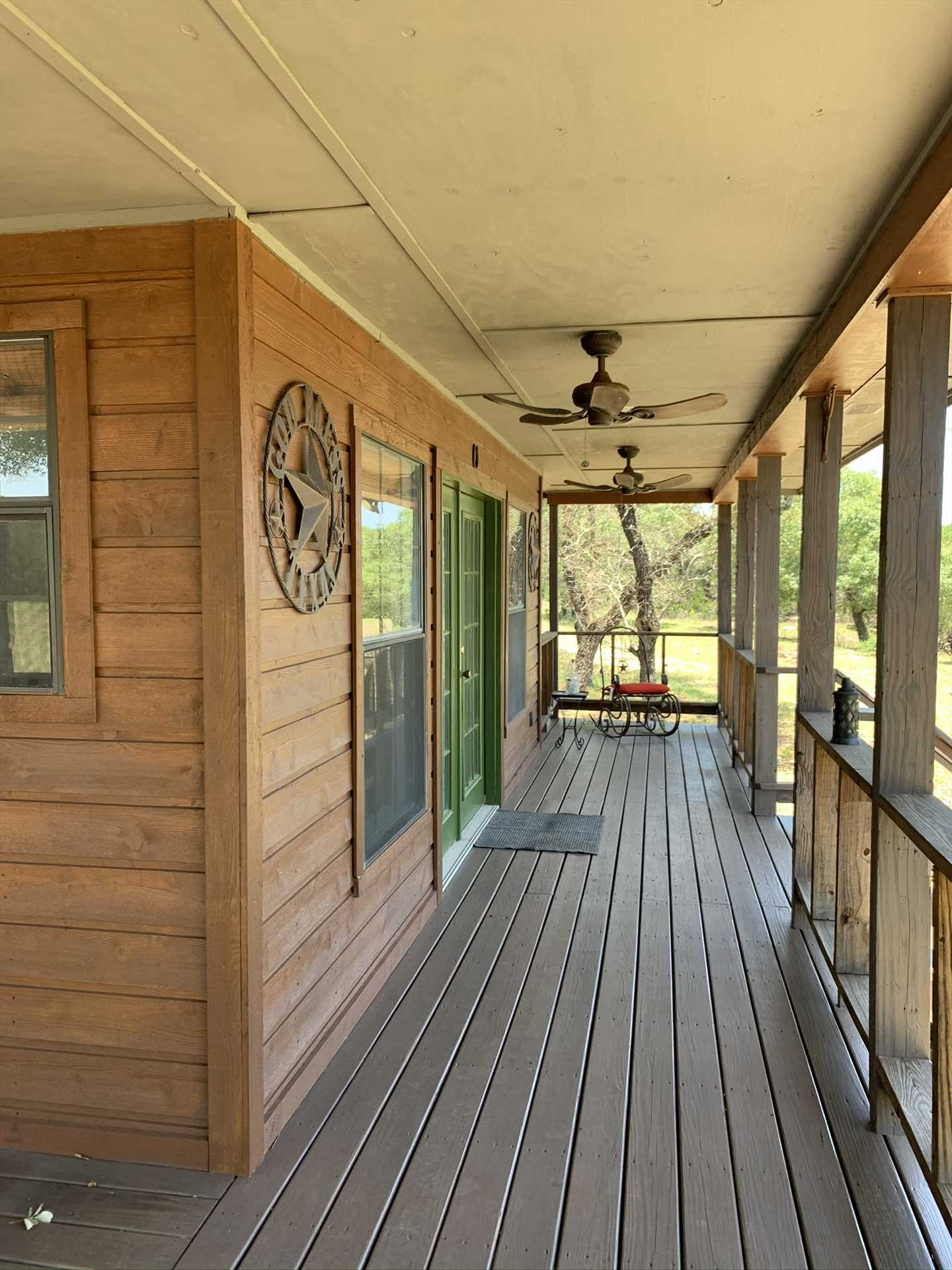 The huge porch at the Hideout provides a comfortable and shaded perch for you to take in those inspiring Hill Country views.