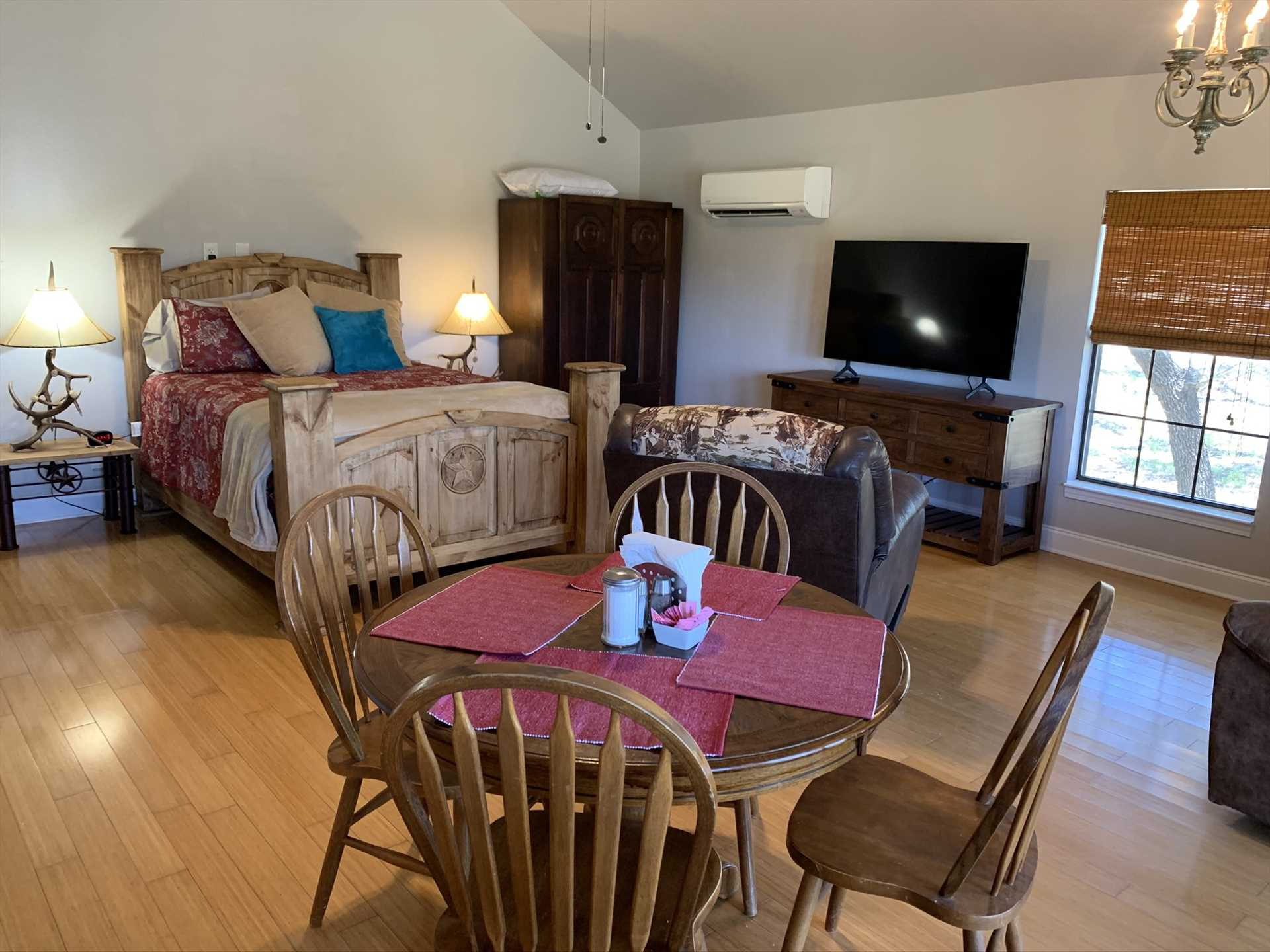 AC and heat, satellite TV with over 200 channels, Wifi Internet and cell service, and even a roll-away bed for a third guest are among the luxuries you'll find at the Hideout.