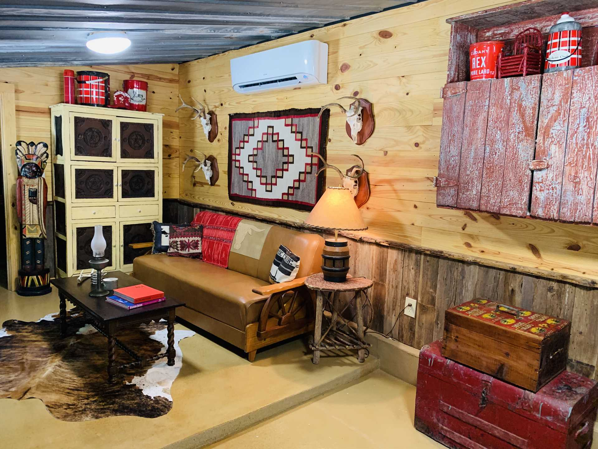 Dozens of awesome furnishings and decorations make the Vintage Cowboy cabin shine with a personality all its own!