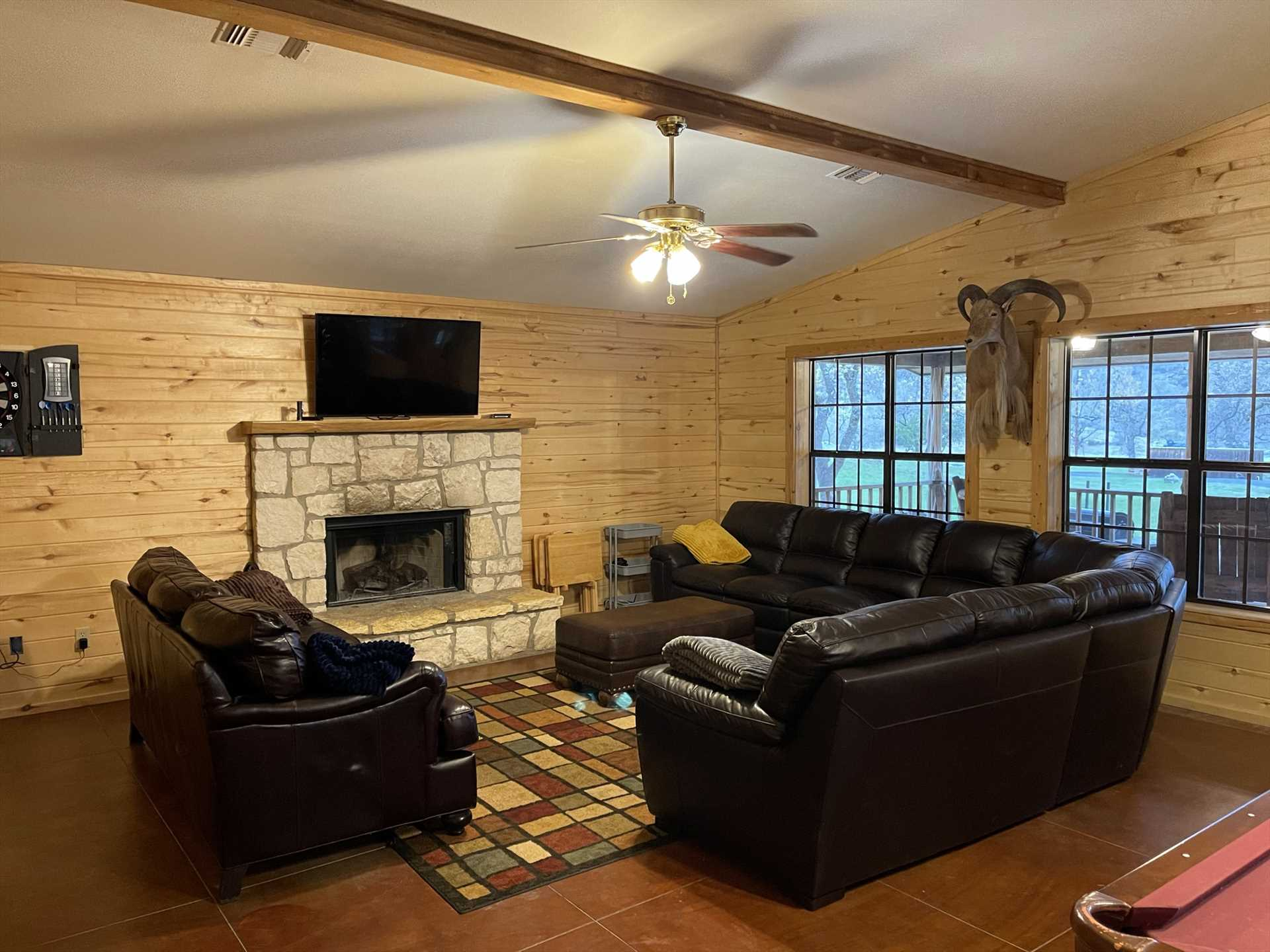 The Lodge features sleeping accommodations for up to 20 guests, and the living area gives each and every one of them room to stretch their legs, too.