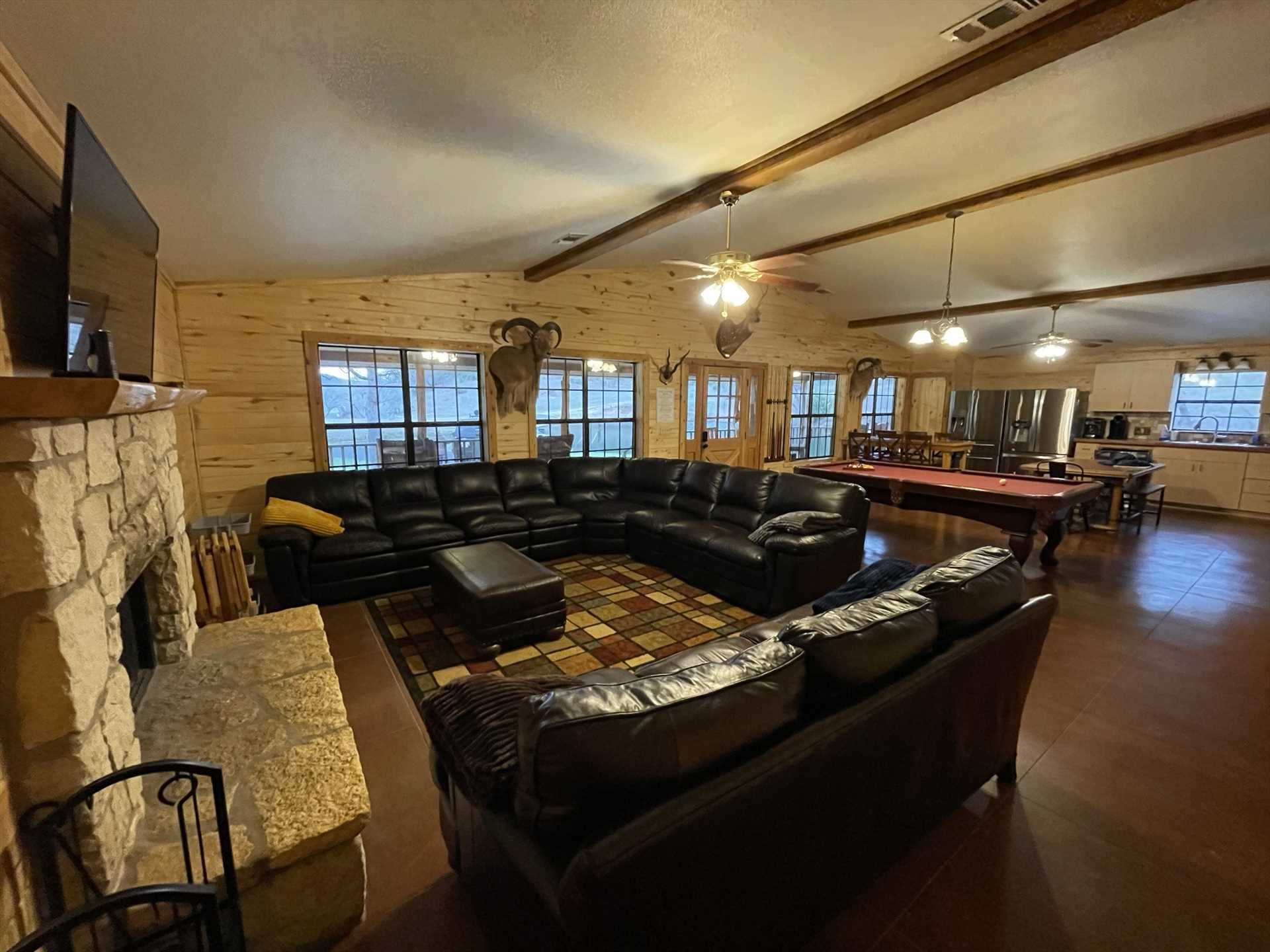 The gigantic living space includes a smart TV, bring along your Roku or Firestick to expand your viewing options! The Lodge also has Wifi service.