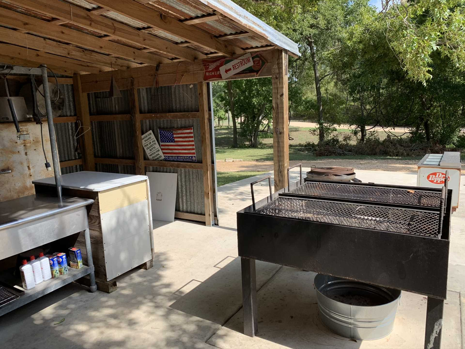 No matter how hungry your crew is, there's plenty of space to keep them happy and full on the BBQ pit.