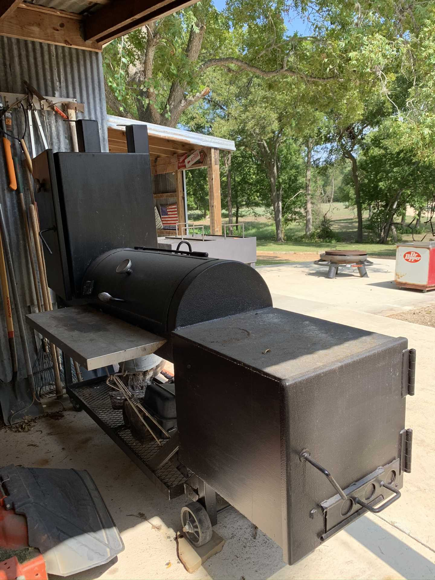 The pavilion also has a big smoker. It's a great place for the BBQ champions in your group to kick it up a notch!