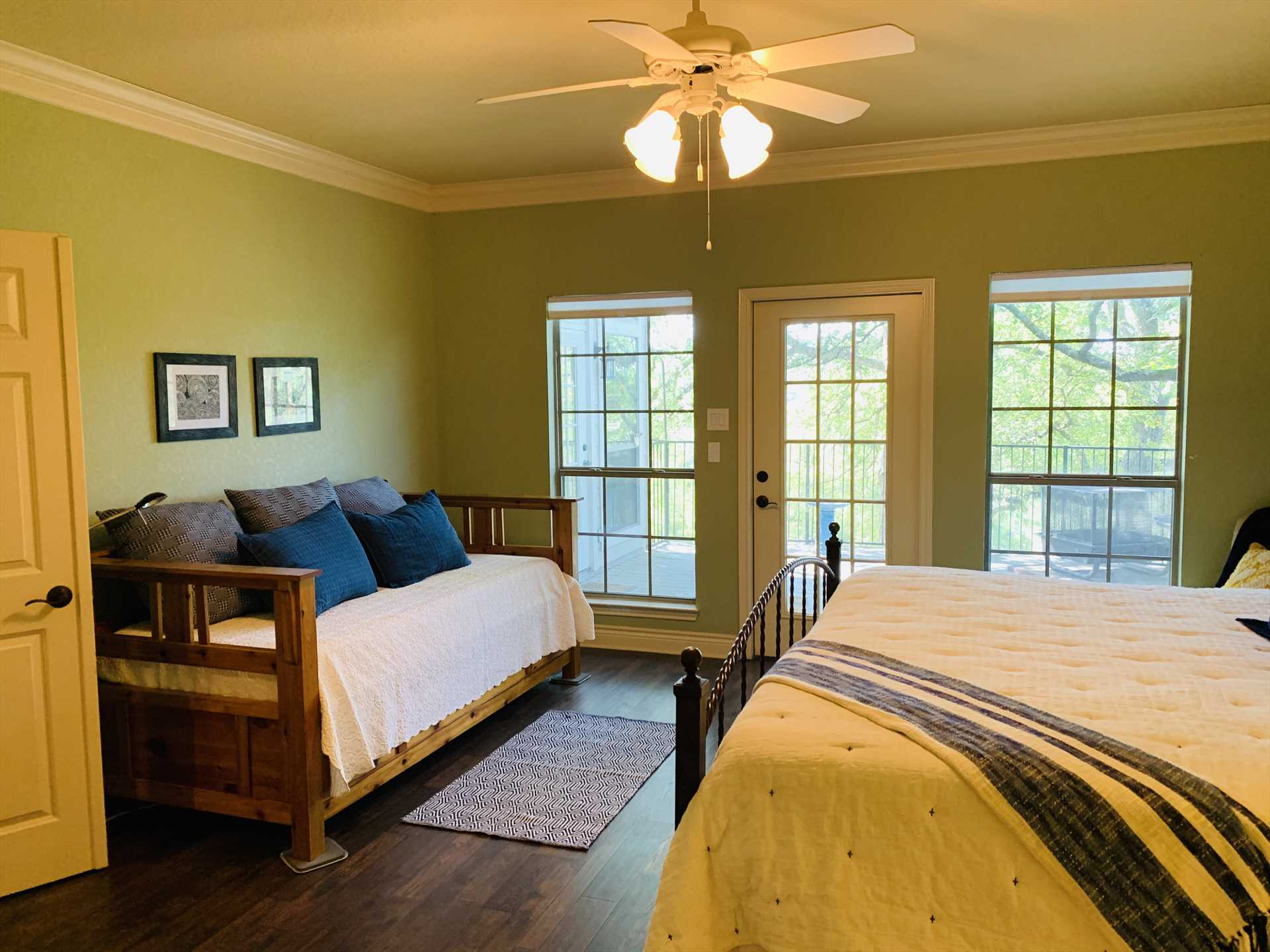 The master bedroom has its own access to the Retreat's outdoor patio (there's also access from the living area).