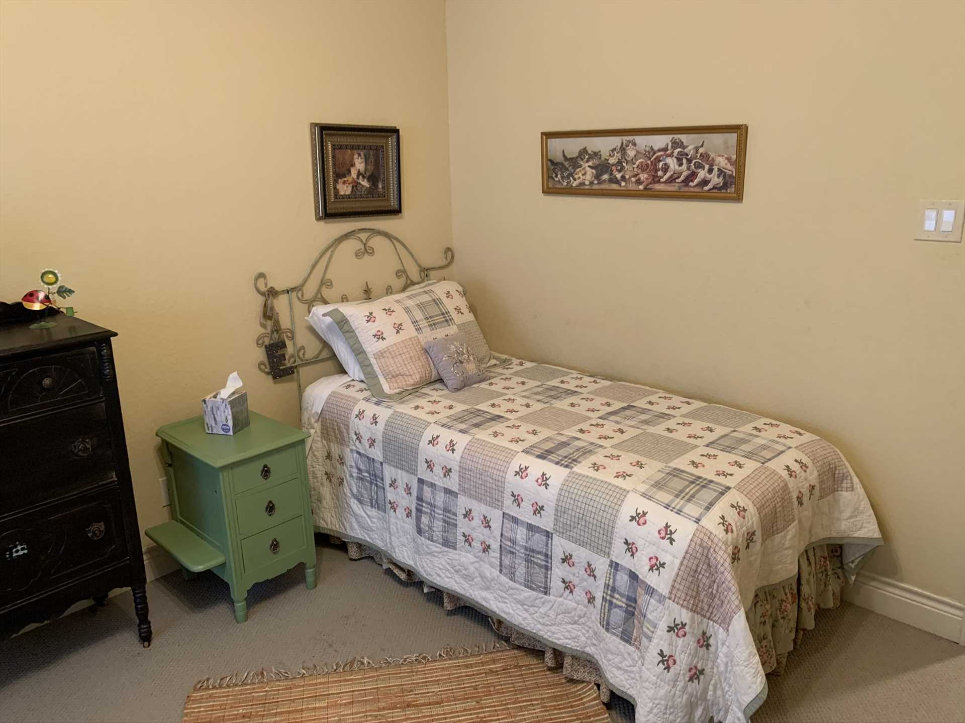 All told, three bedrooms and five beds provide sweet slumber space for up to seven guests.