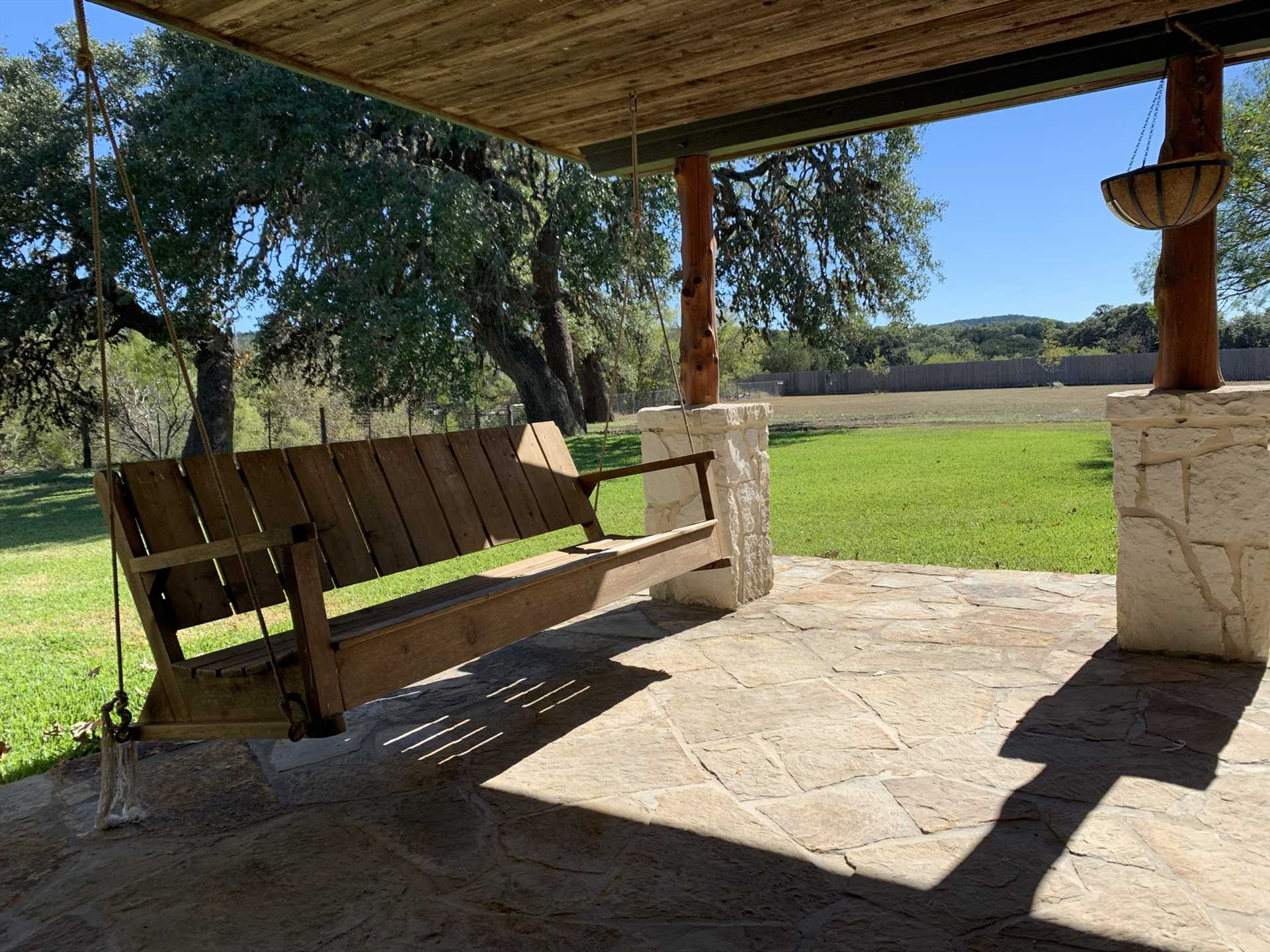 Take a peaceful swing on the shaded porch as the soothing Hill Country breezes waft over you.