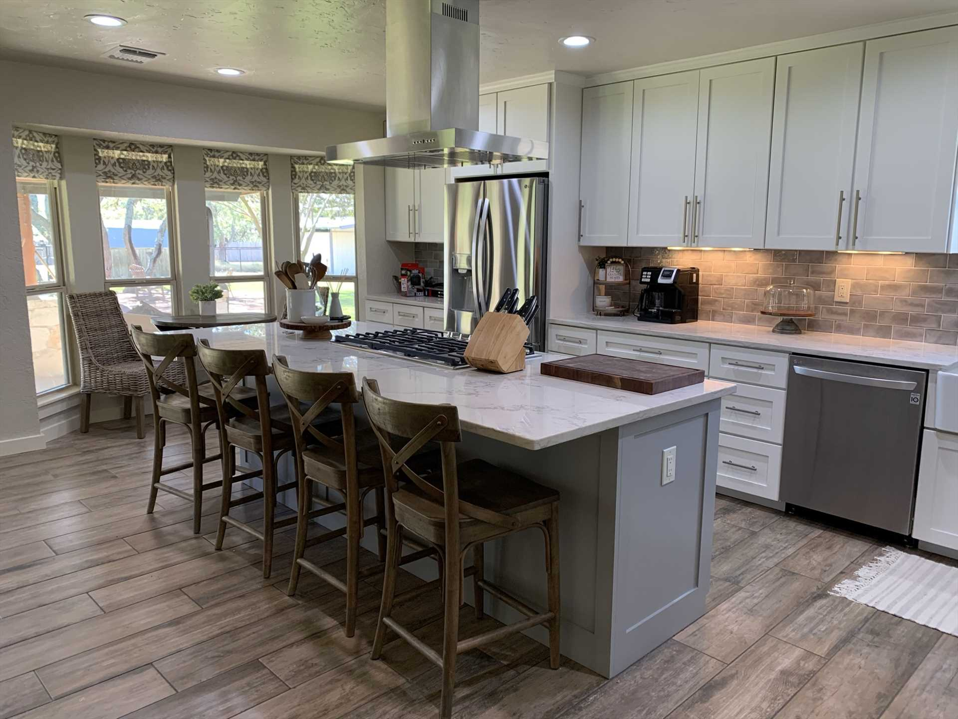 Sharp, stylish, and newly renovated, the kitchen space is designed to be both functional and fun!