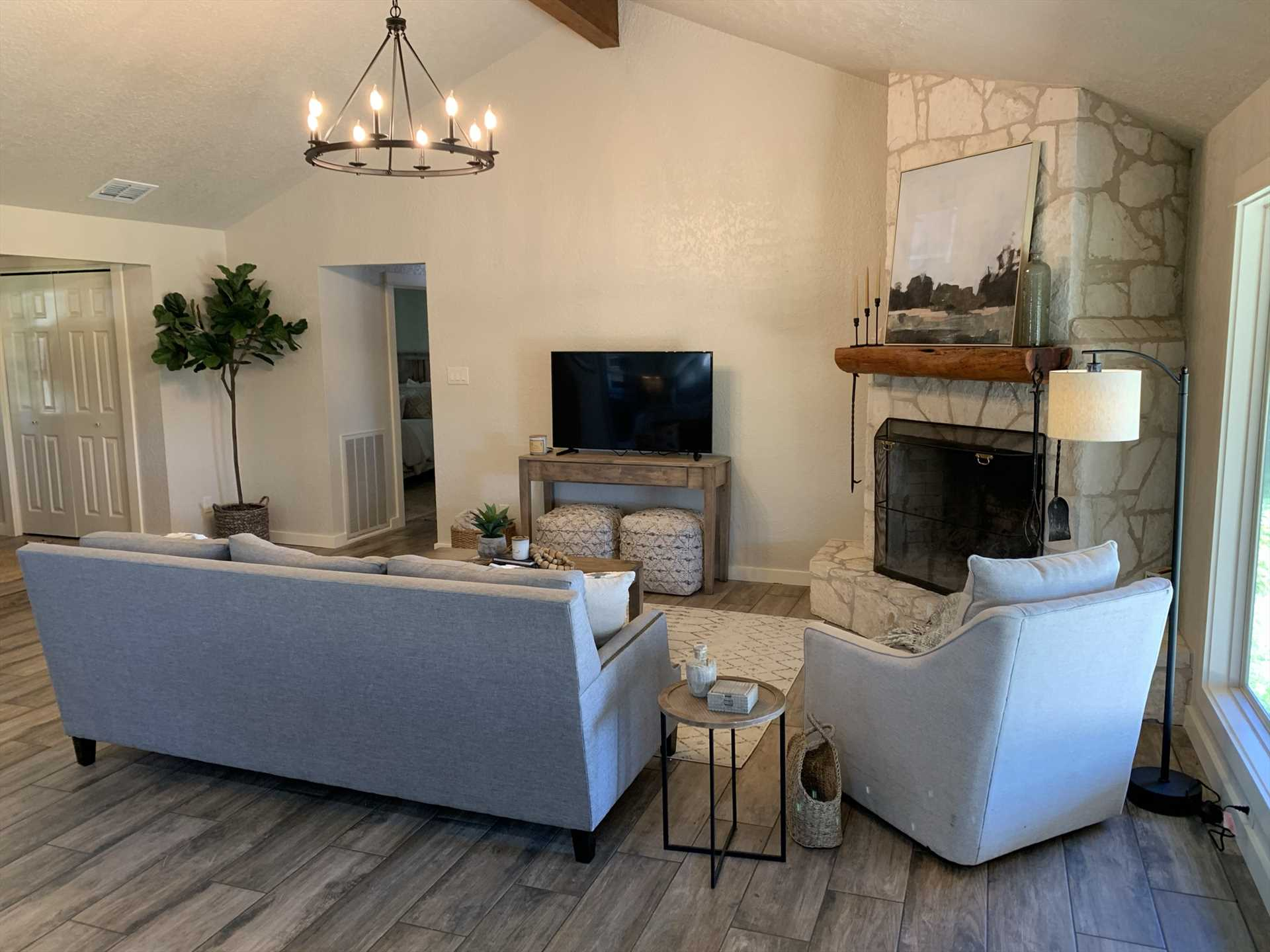 The entire house stays comfy with central air and heat, and chilly nights are kept at bay with the living area gas fireplace, too!