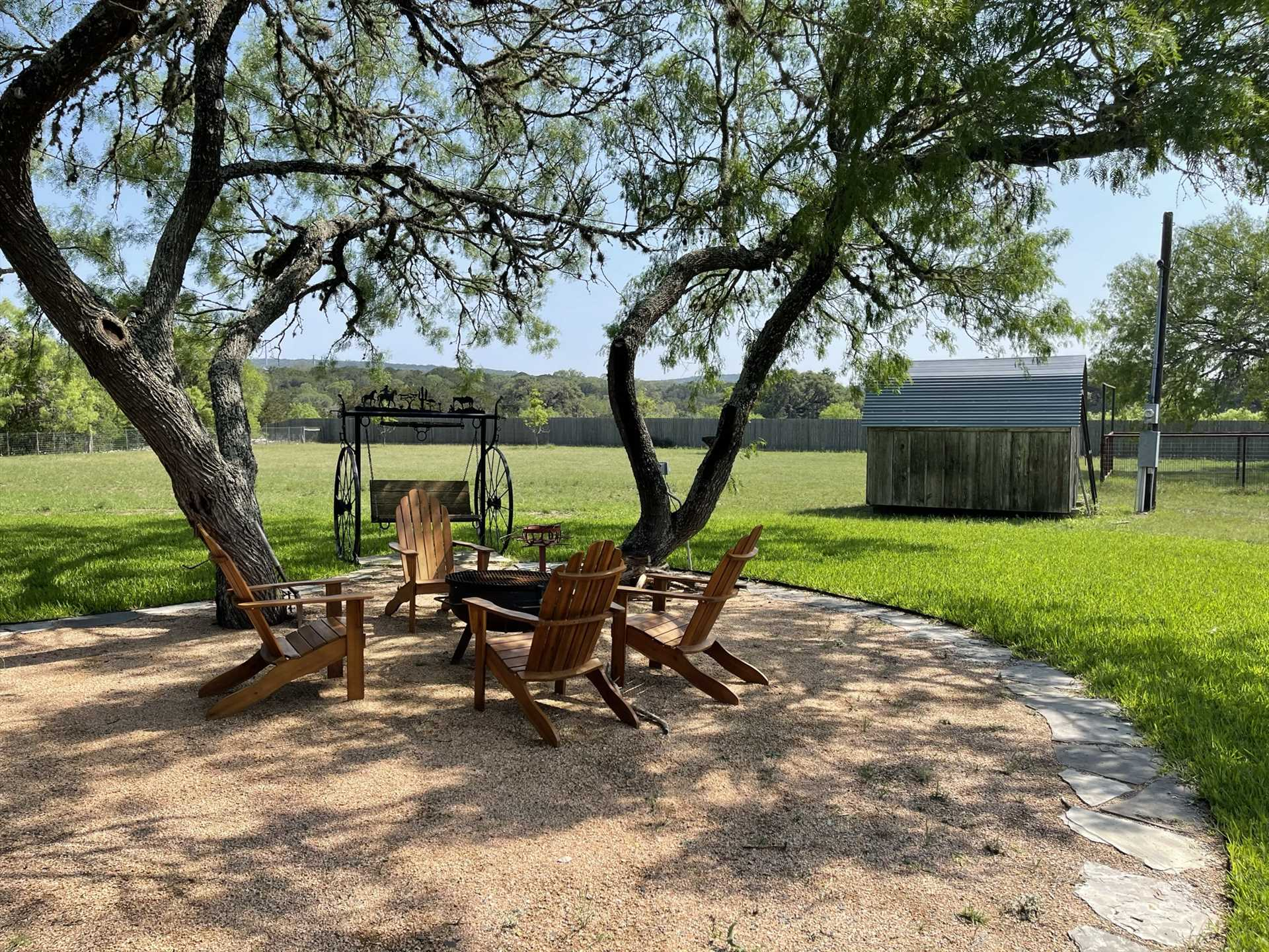 Kick back in an Adirondack chair, or snuggle on the swing, as you enjoy snacks, sunsets, and star gazing around the fire pit!