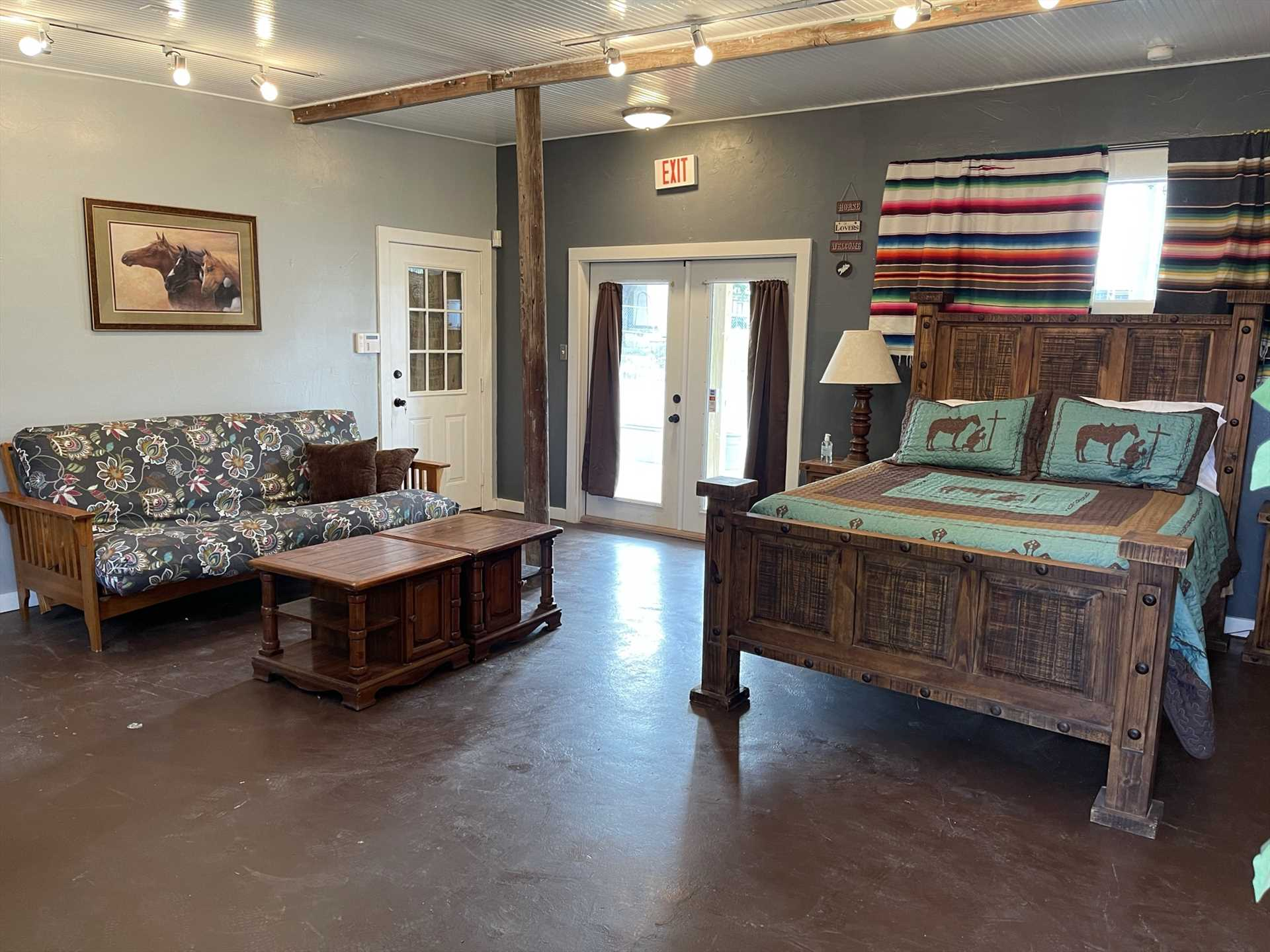 Rest well on the queen-sized bed, surrounded by rustic vintage furnishings. Clean and soft bed linens are included for your comfort!