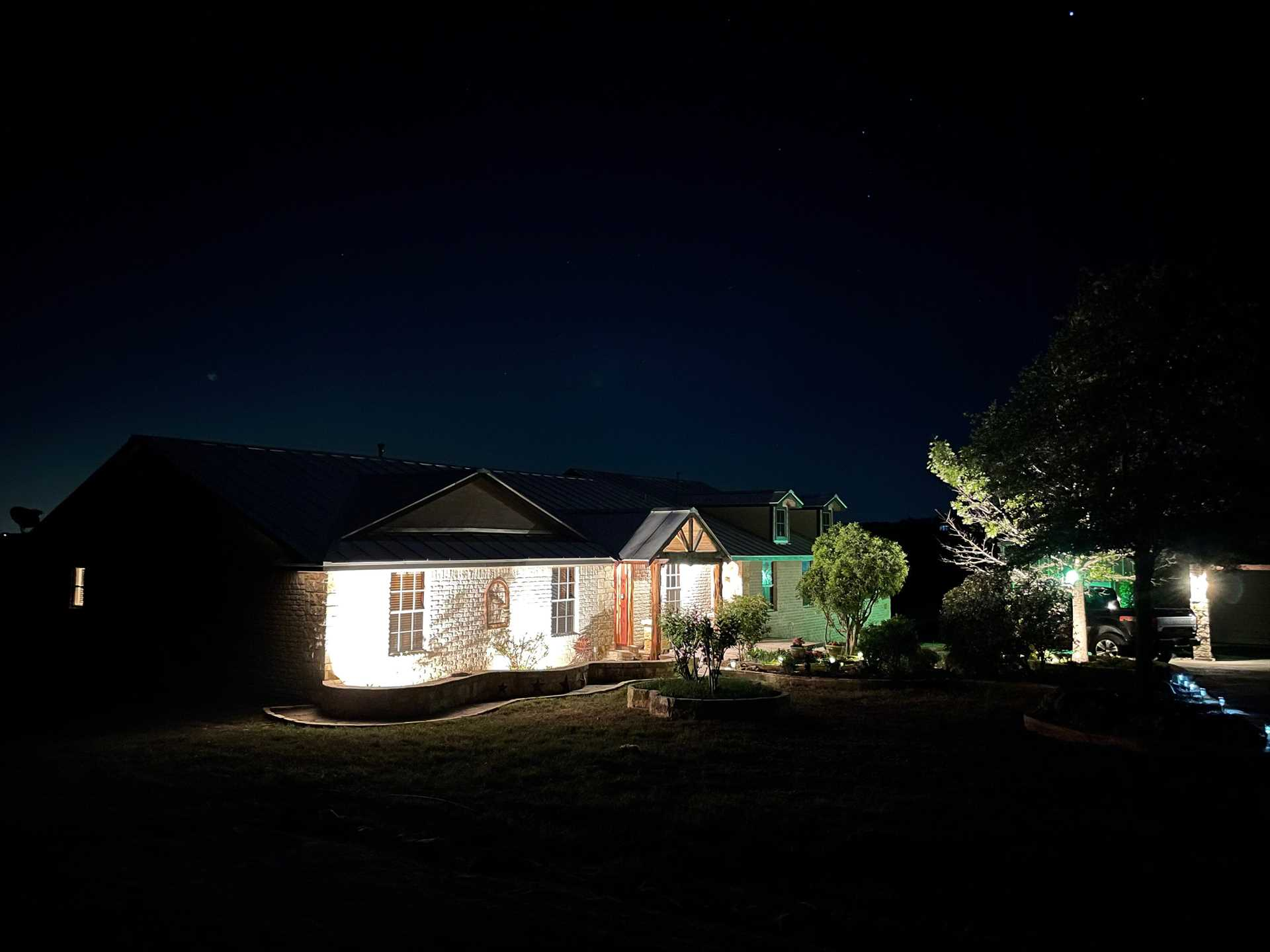 The outdoor lighting is beautiful at night! Or, if you prefer, switch it off and take in the star-filled Texas skies.