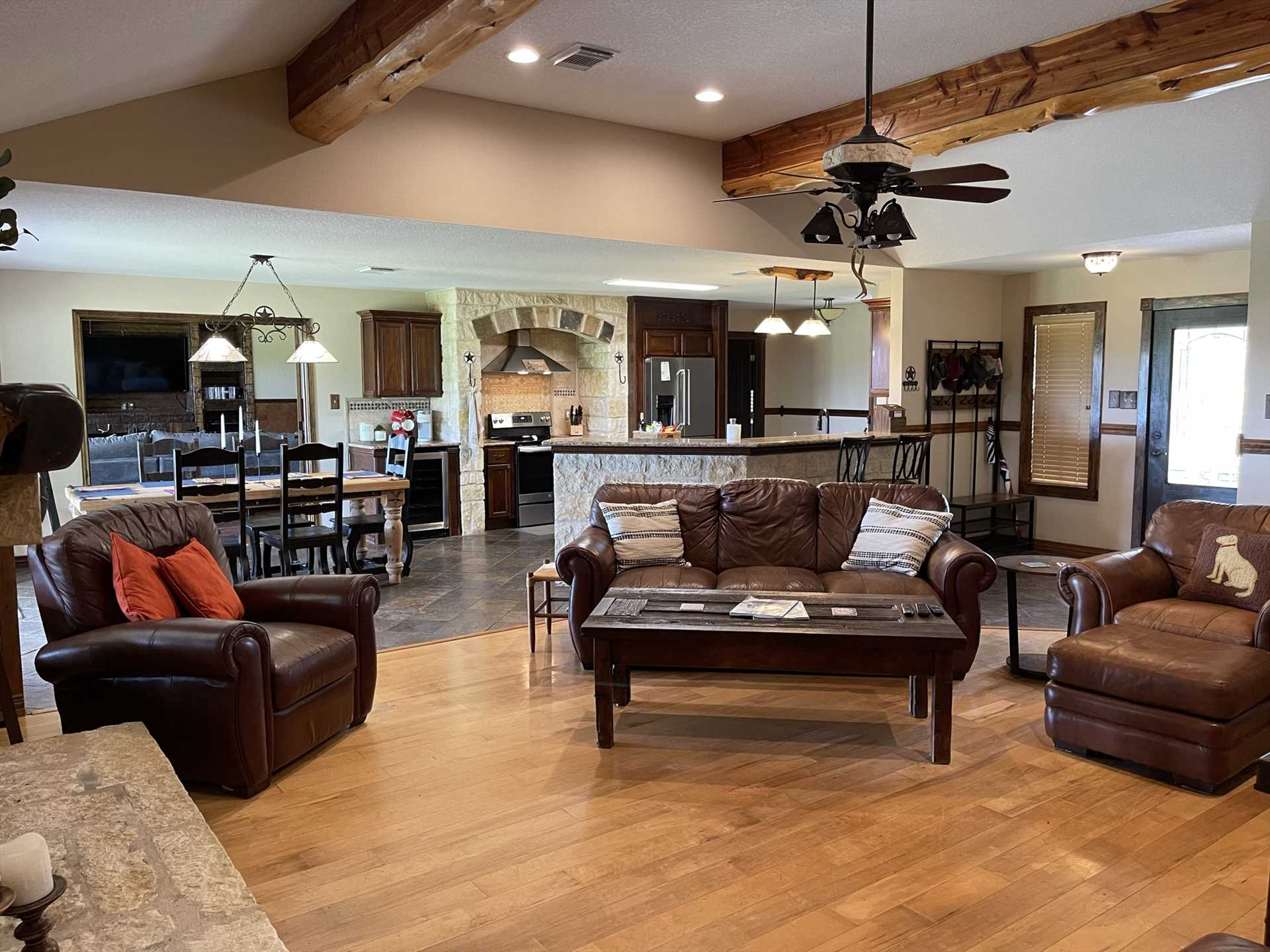 The wide-open layout of the living area, dining area, and kitchen gives your crew a sense of togetherness, even when they're in different rooms.