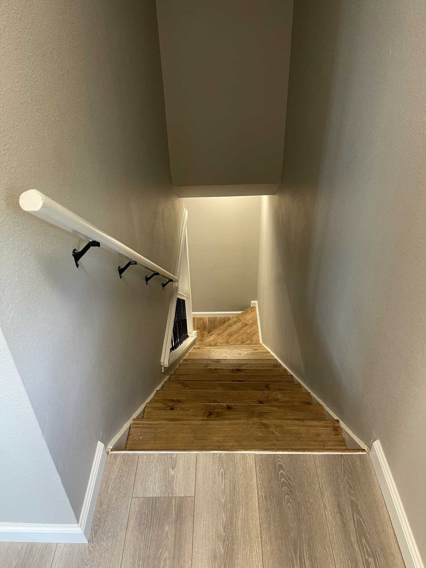 If you have folks in your group who'd like a moment of privacy, the bedrooms are conveniently located upstairs from the main living and kitchen areas.