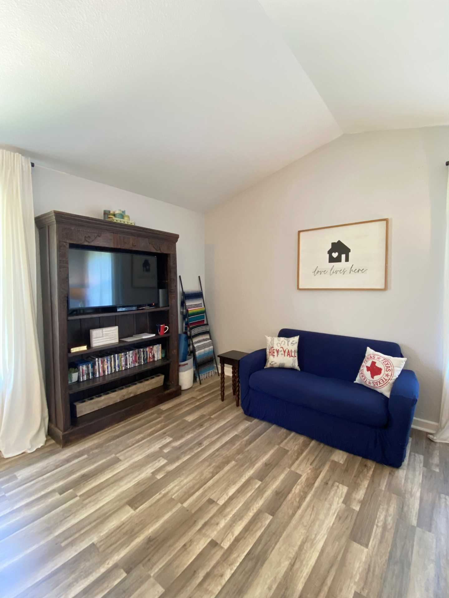 The TV here includes Roku and a DVD player, along with a select library of movies for your family to enjoy! There's also Wifi service throughout the house.