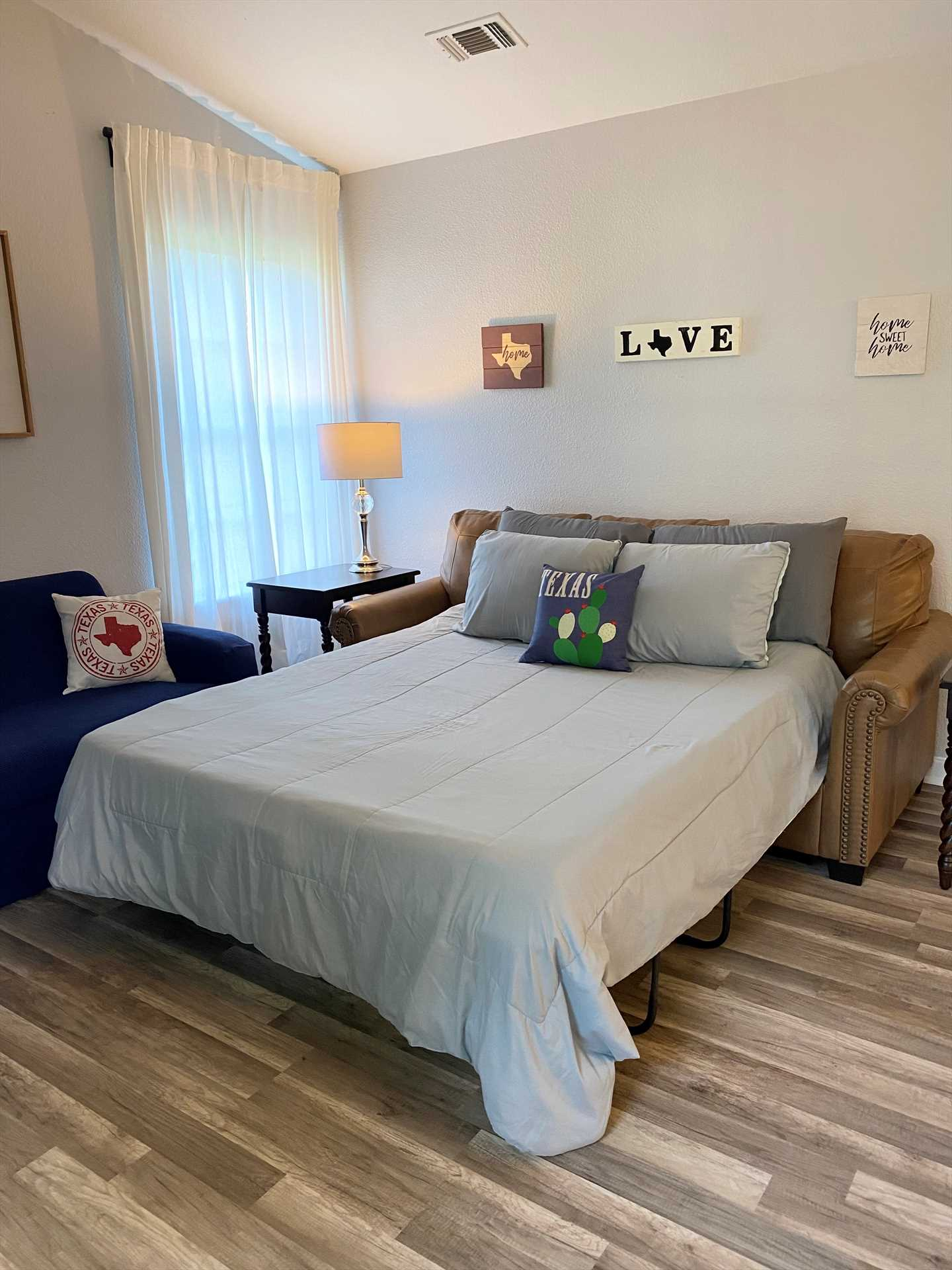 Two more guests can sleep in comfort on the sleeper sofa! All in all, there's plush sleeping accommodations for up to ten guests here.
