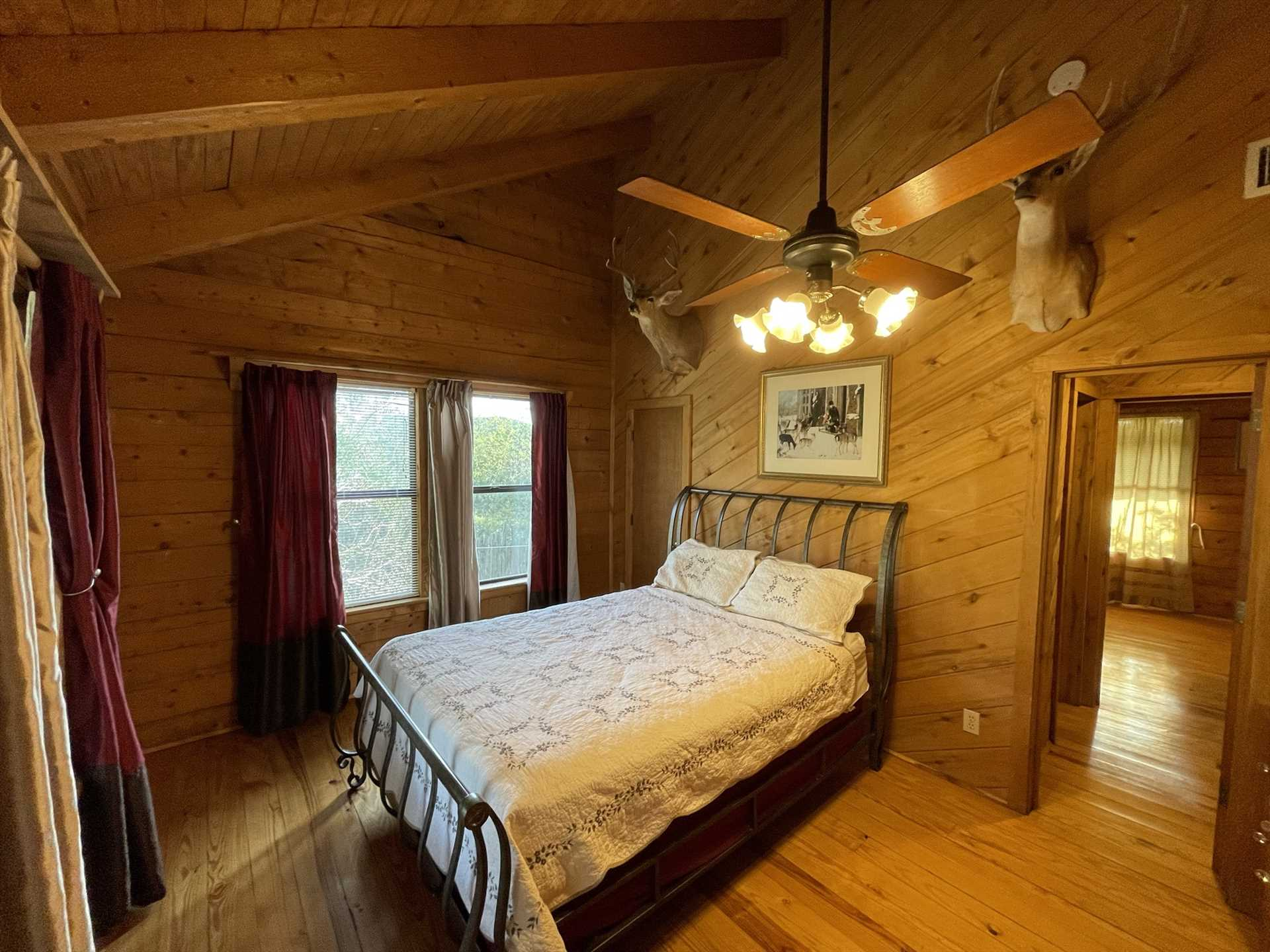 This plush double bed graces the third of three bedrooms in the Lodge. All told, there are pampering sleep accommodations for up to six of your folks.