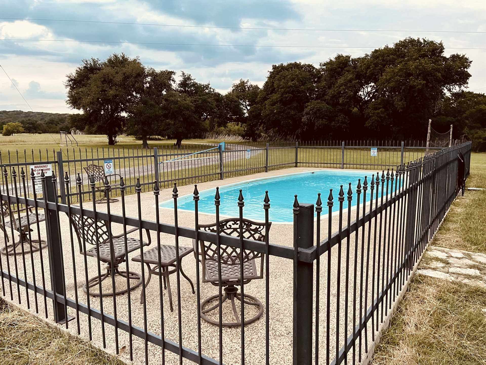 Texas summers don't stand a chance against the cool and crystal-clear waters of the shared swimming pool here!
