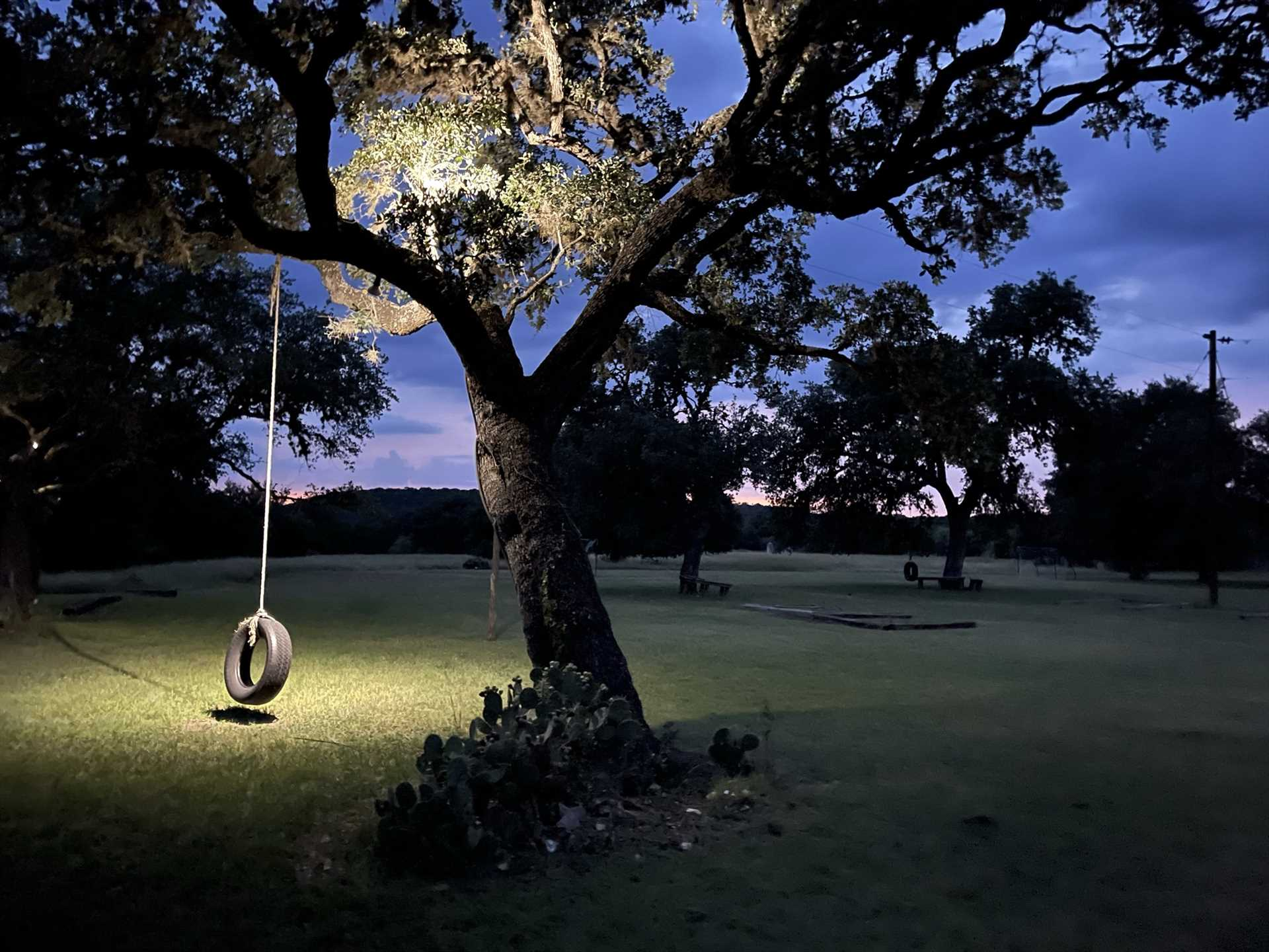 Kick your legs up for some old-fashioned fun on the tire swing...it's even lit up so you can enjoy it at night!