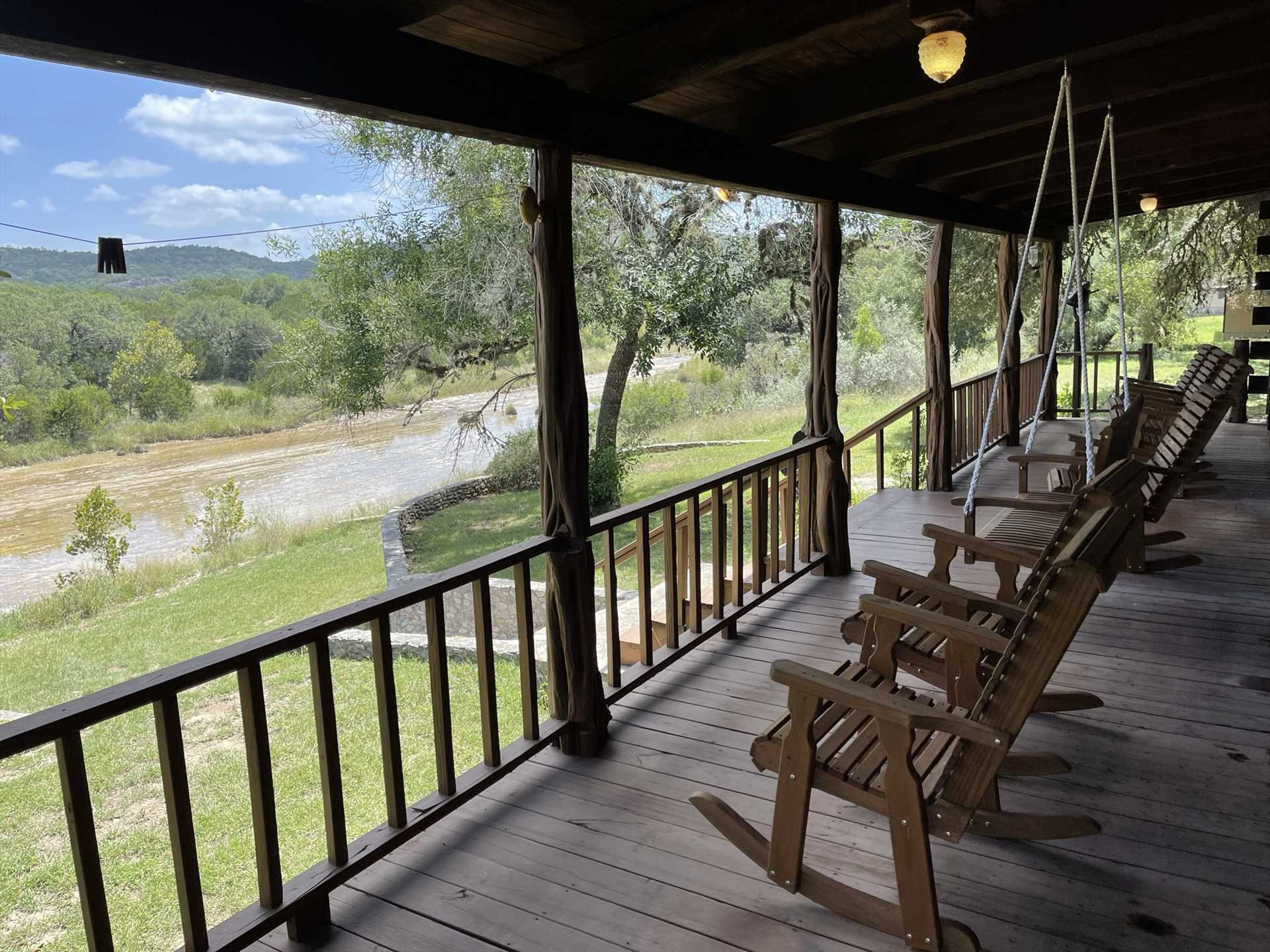 Rock away a peaceful moment on the cool and comfy deck. The views here of the swimming hole, and the majestic mountains of the Hill Country, are beyond compare!