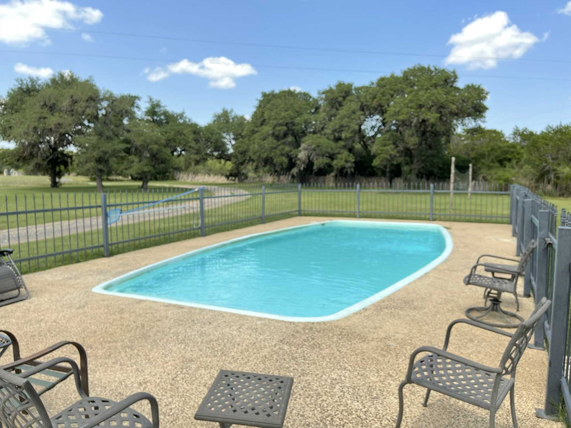 Make a splash-and take the edge off those hot Texas summers-with a cool swim in the crystal-clear pool.
