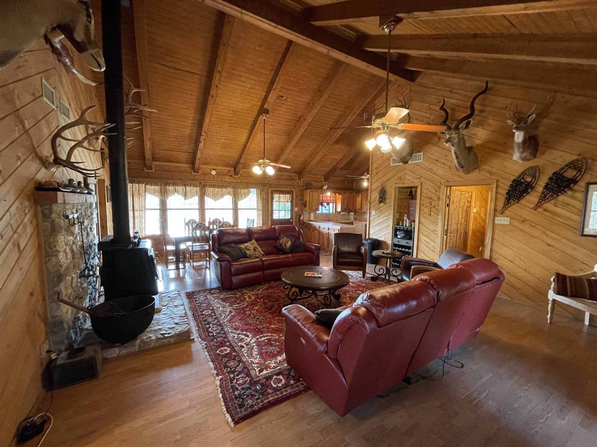 A vintage fireplace and rustic western decor add warmth to the Lodge, in every sense of the word.