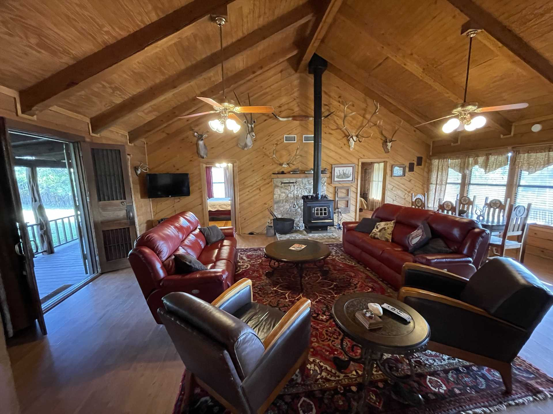 High ceilings, golden woodwork, and tasteful furnishings create a restful living space for everyone at the Lodge.