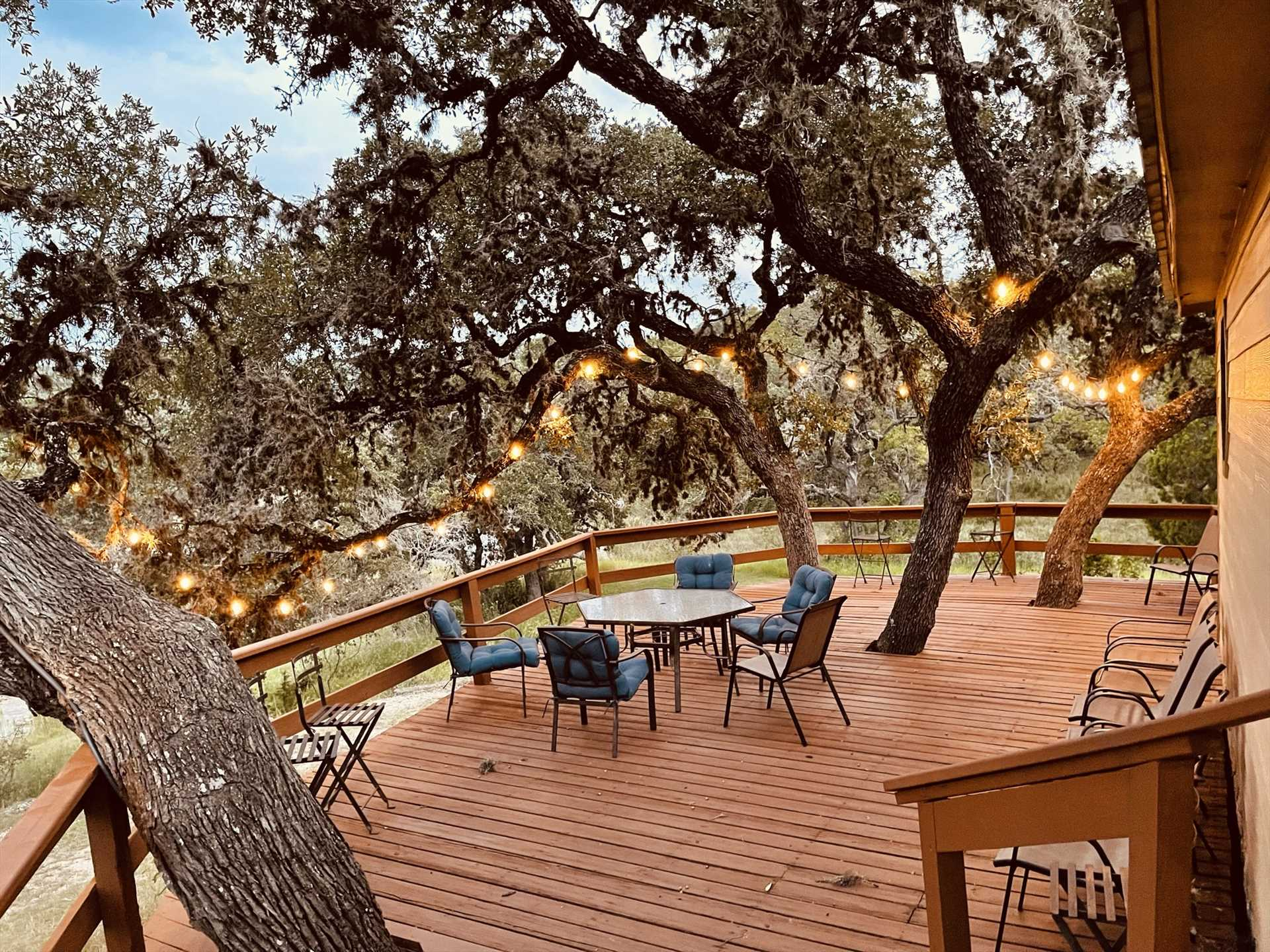Trees sprout right up through Rio Vista's roomy deck to provide cooling shade as you enjoy the view!