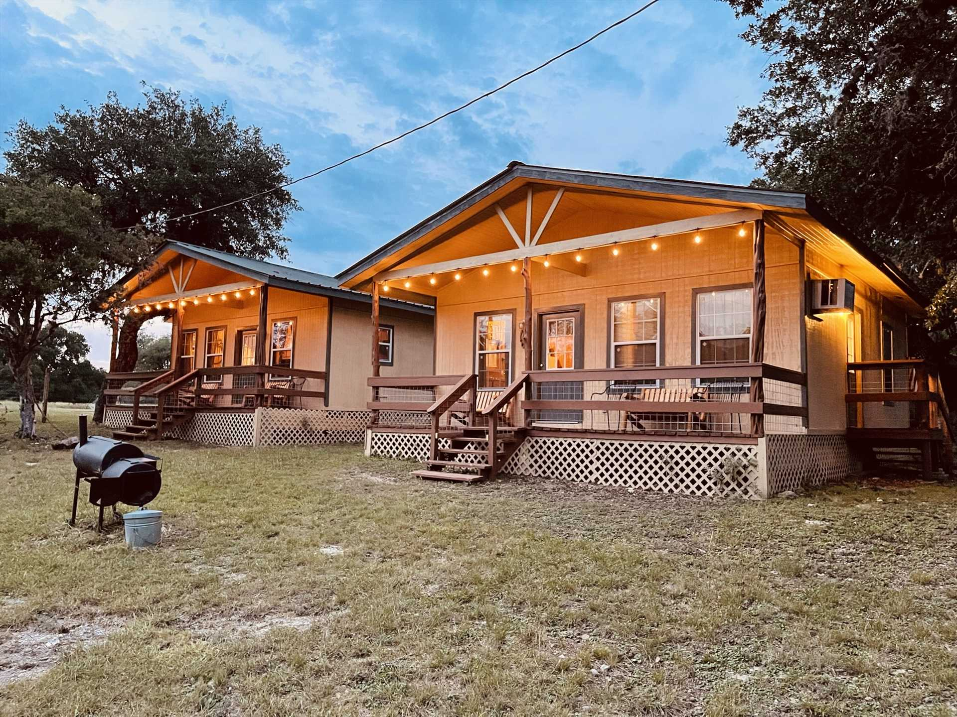 The Gone Fishin' and Lone Star Cabins at Lightning Bug Springs combine to create the dynamic duo of Hill Country getaways: the Texas Star Cabins!